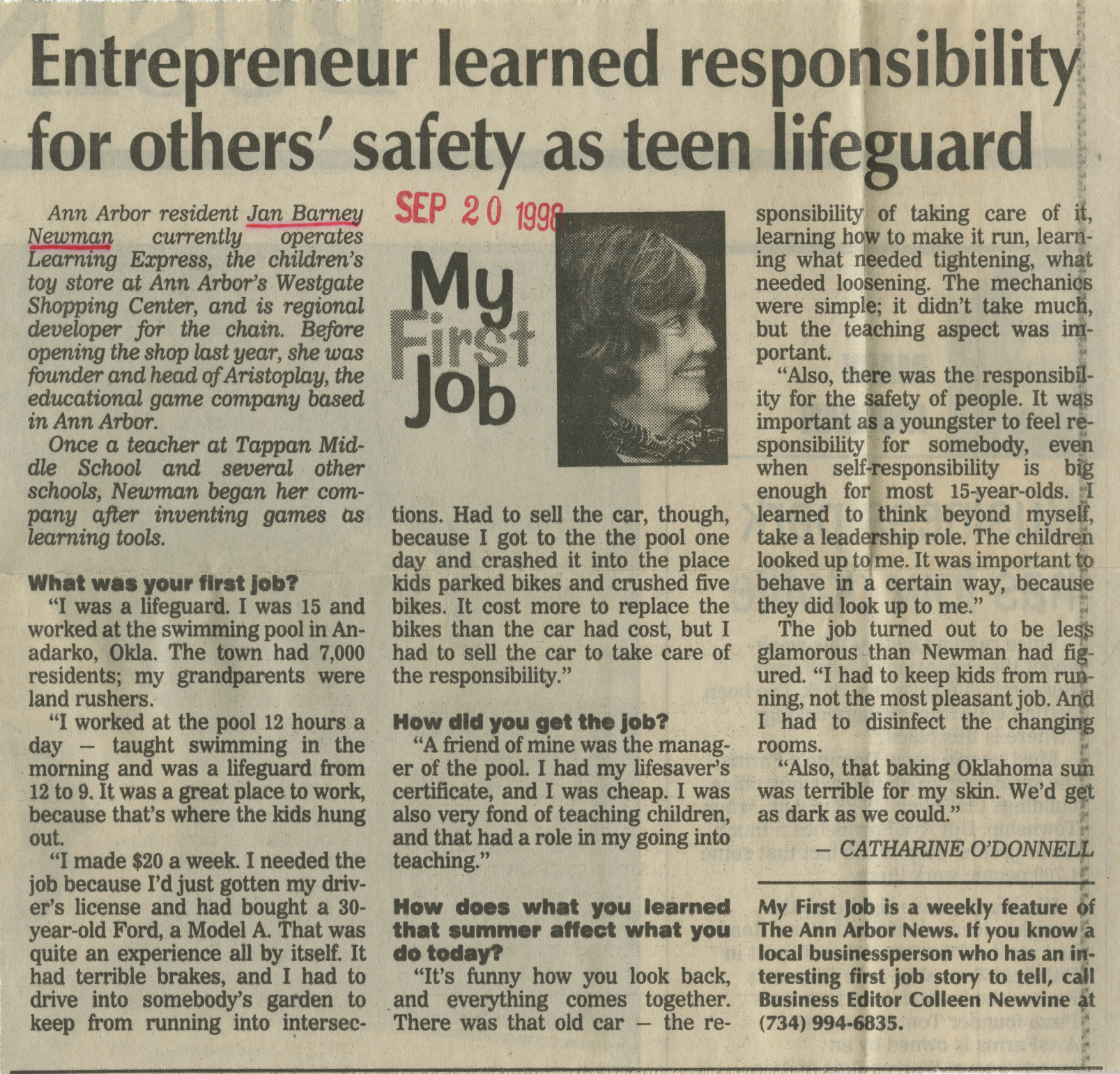 Entrepreneur learned responsibility for others' safety as teen lifeguard image