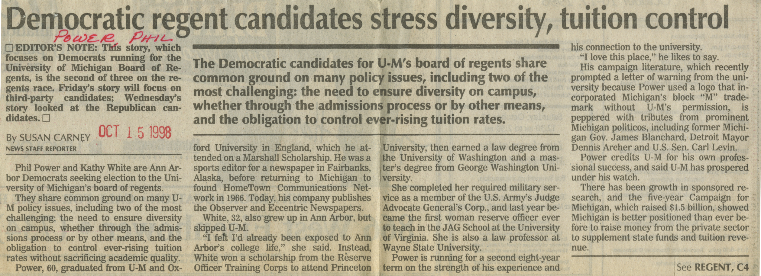 Democratic regent candidates stress diversity, tuition control image