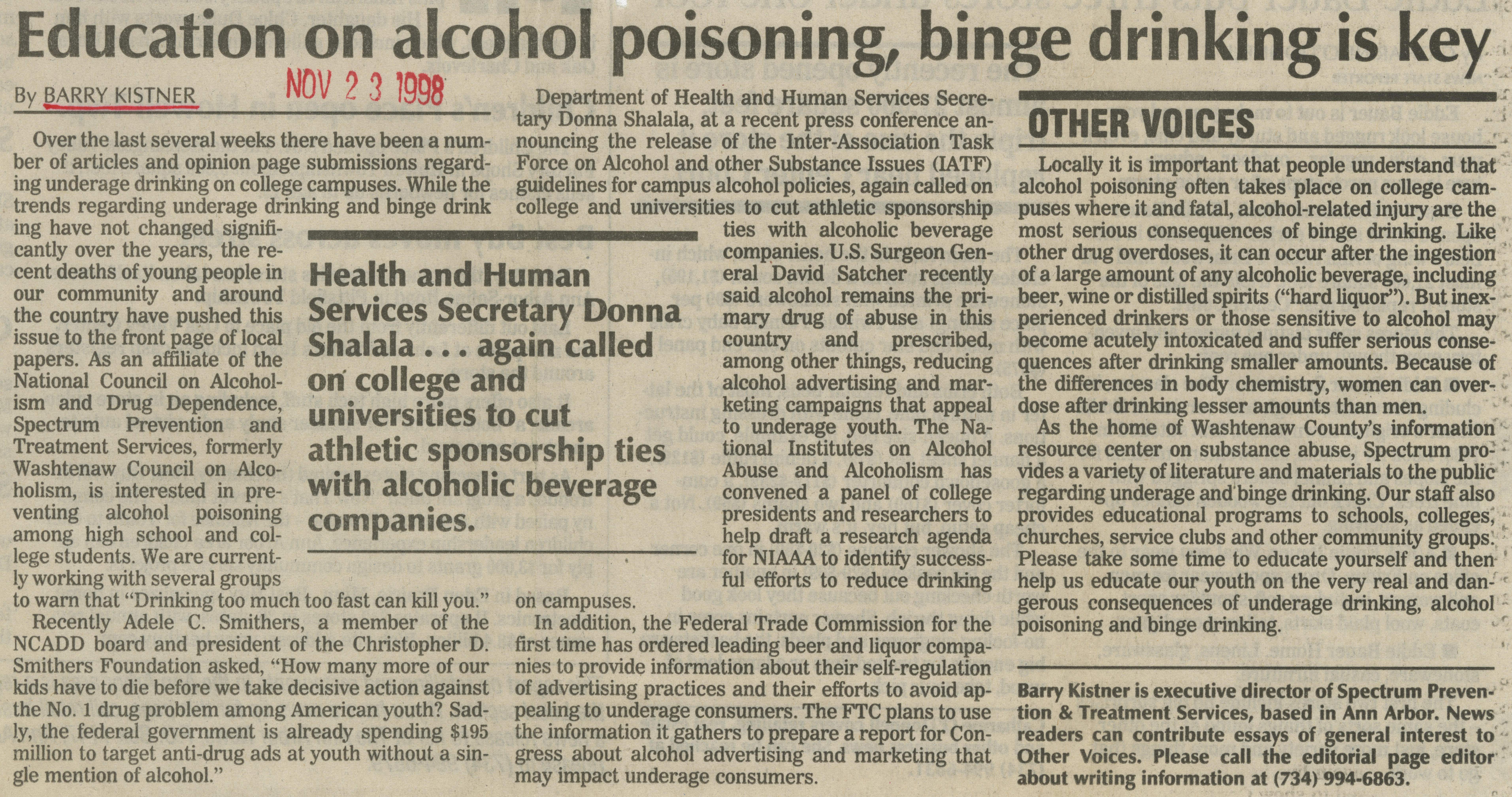 Education on alcohol poisoning, binge drinking is key image