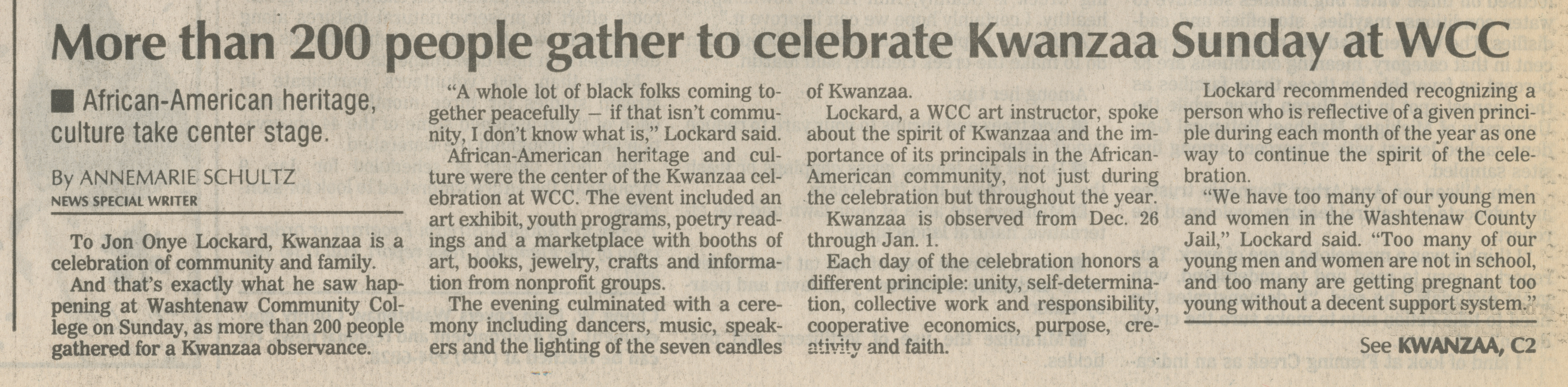 More Than 200 People Gather To Celebrate Kwanzaa Sunday At WCC image