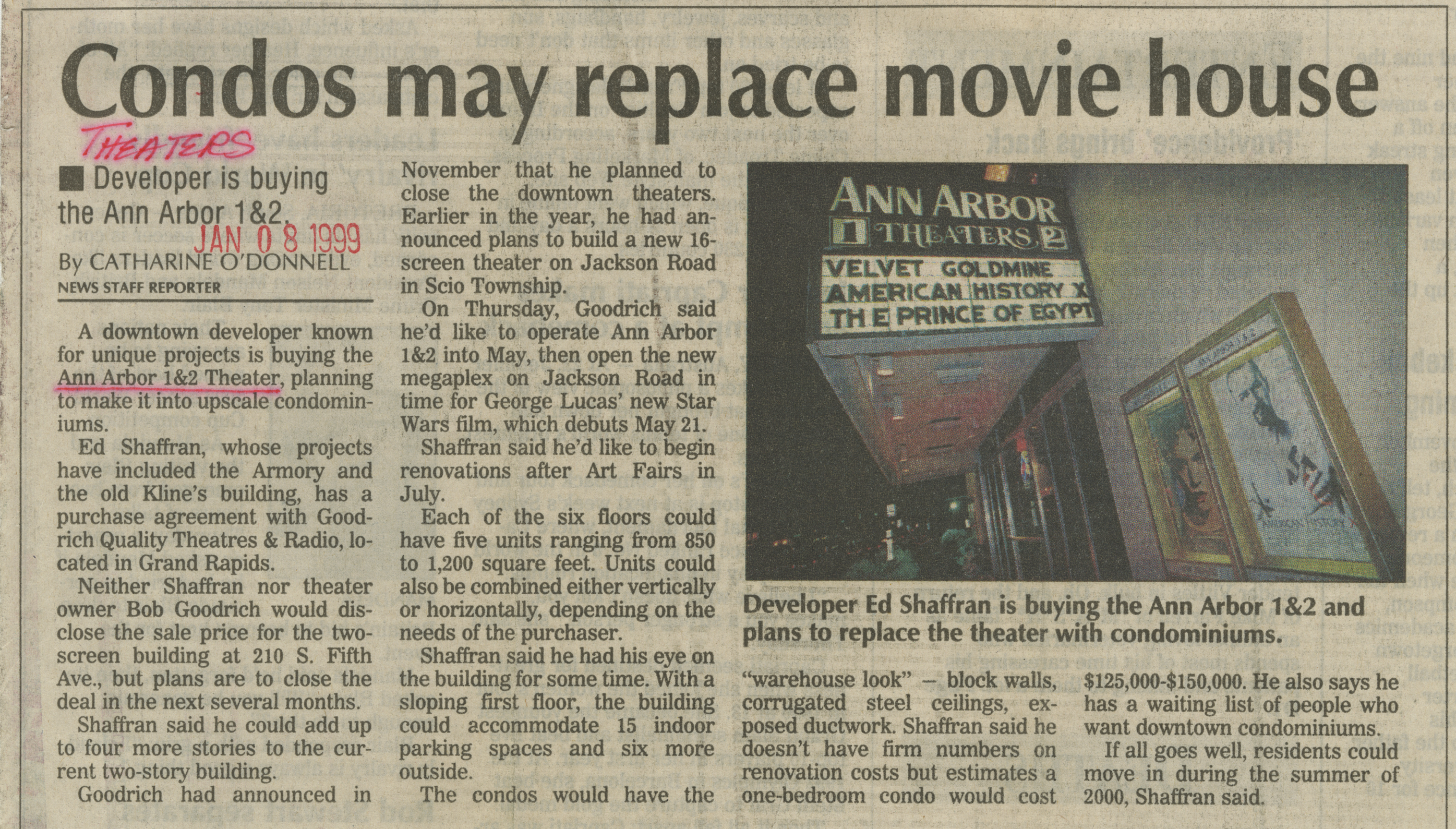Condos may replace movie house image