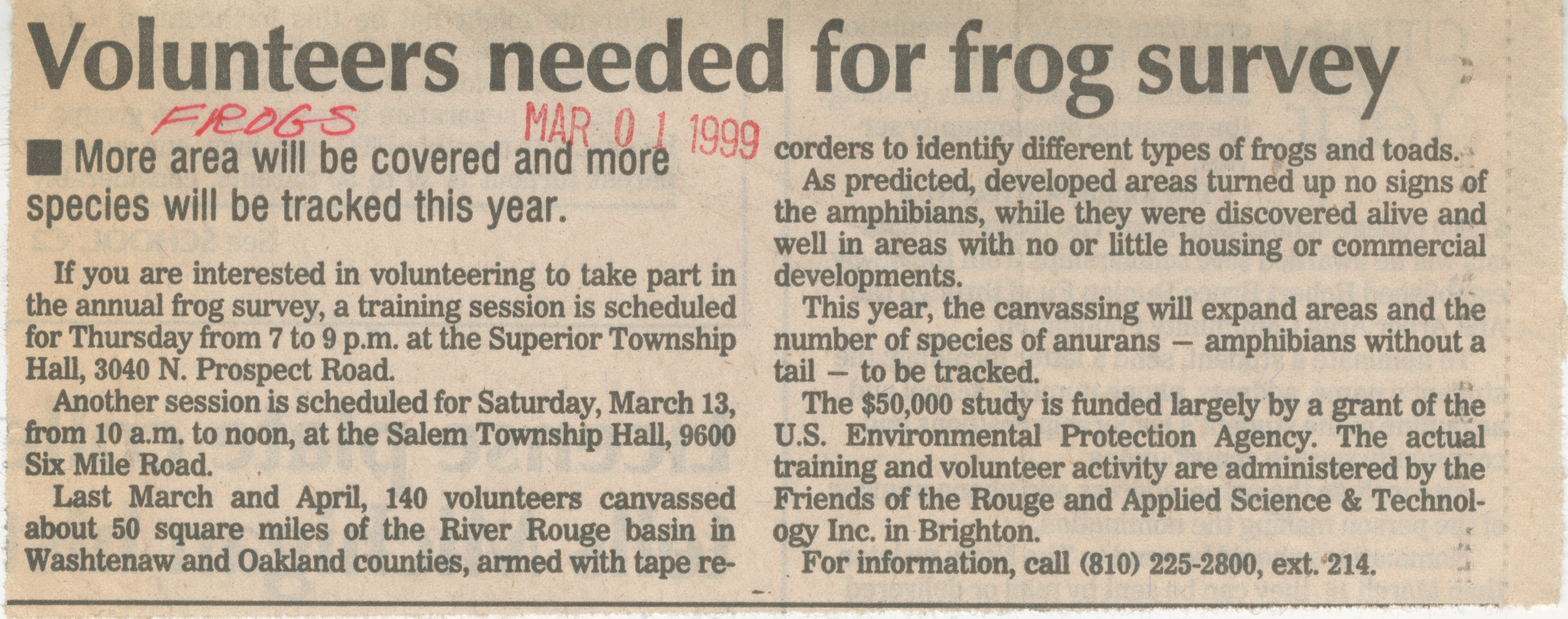 Volunteers Needed For Frog Survey image