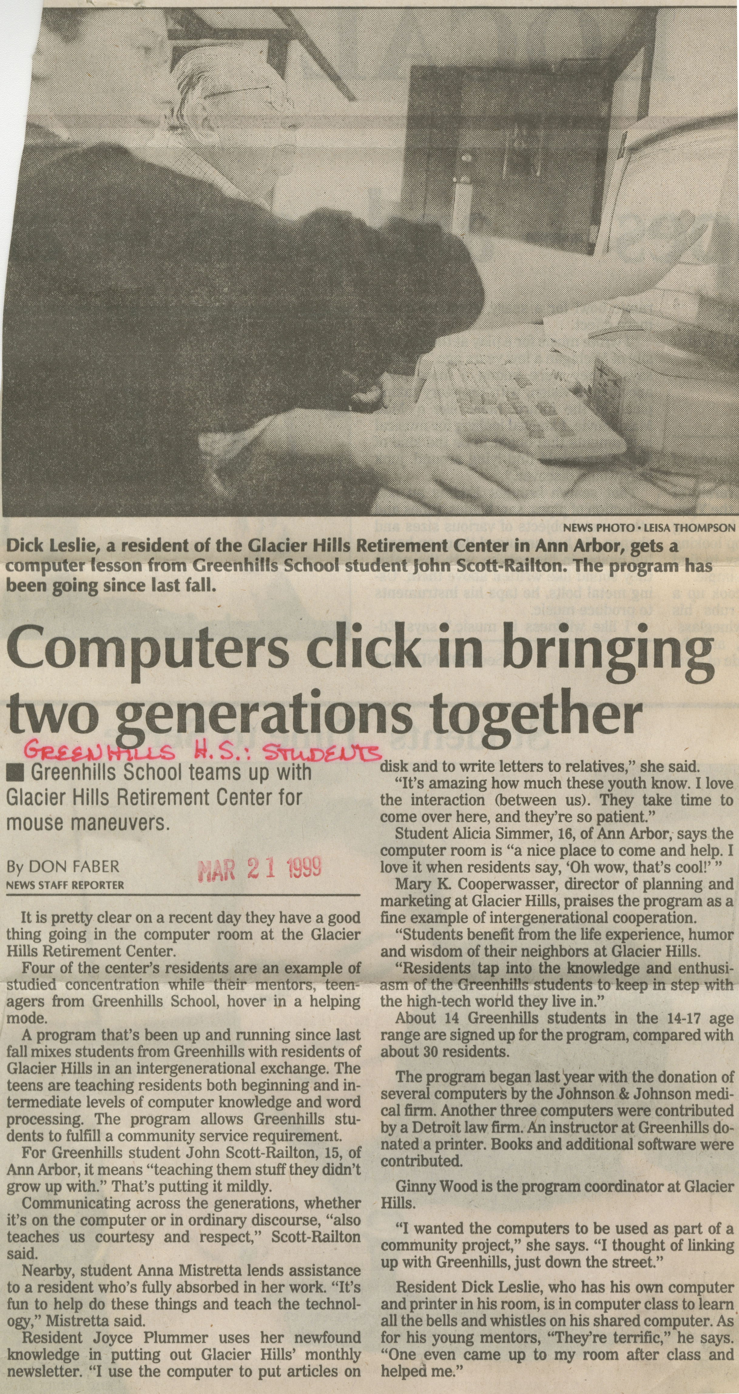 Computers Click In Bringing Two Generations Together image