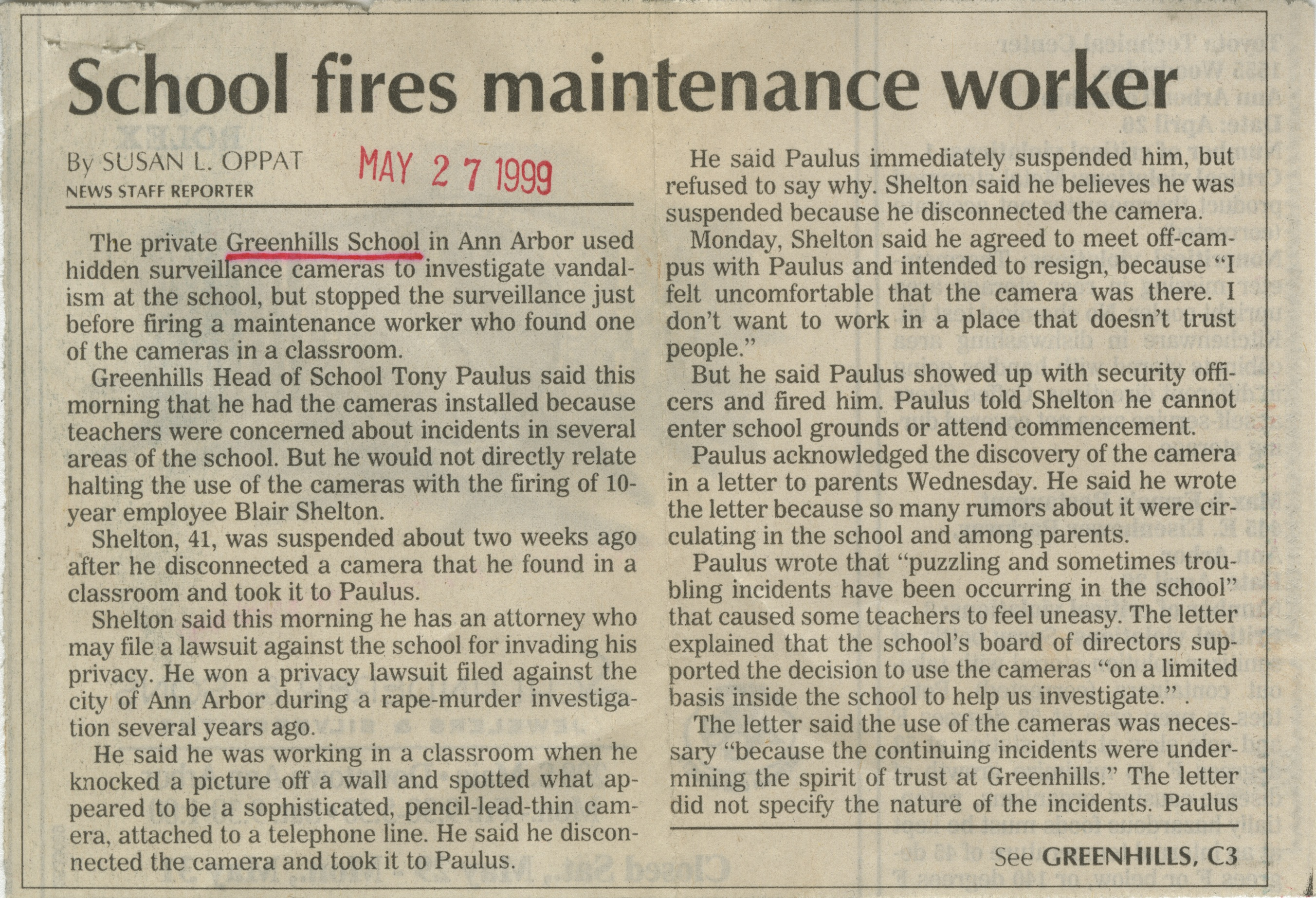 School Fires Maintenance Worker image
