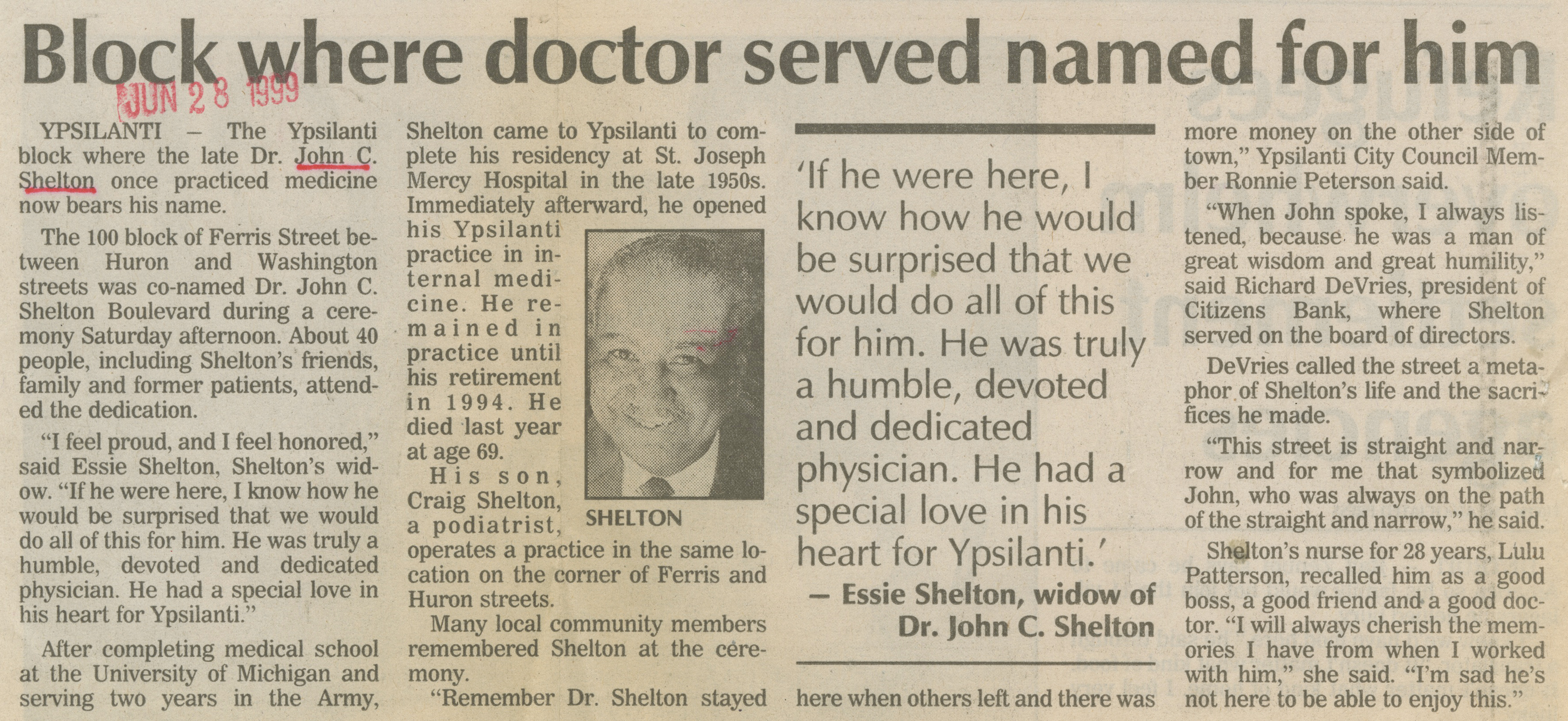 Block Where Doctor Served Named For Him image