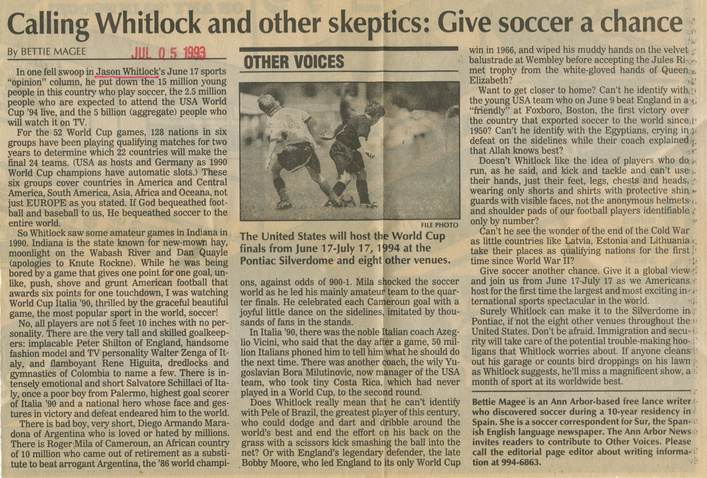 Calling Whitlock and other skeptics: Give soccer a chance image