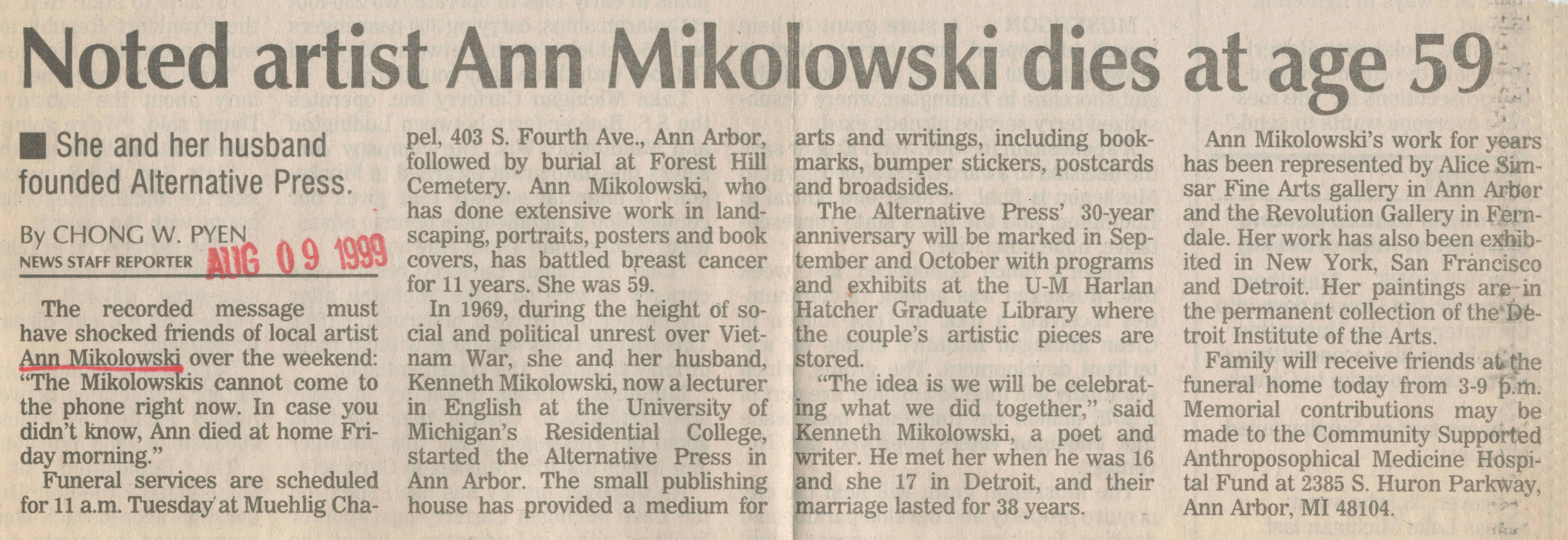 Noted artist Ann Mikolowski dies at age 59 image