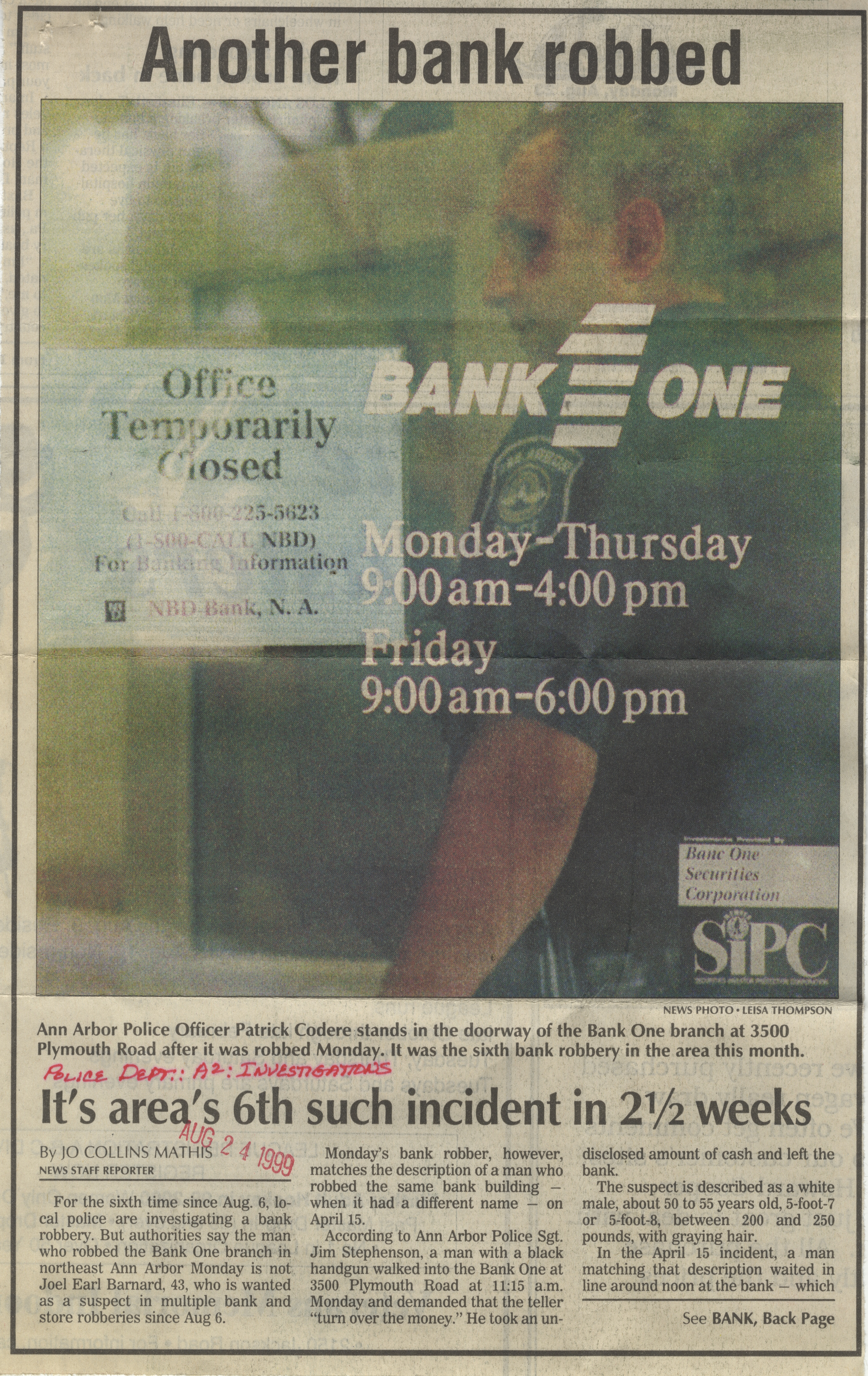 Another Bank Robbed - It's Area's 6th Such Incident In 2 1/2 Weeks image