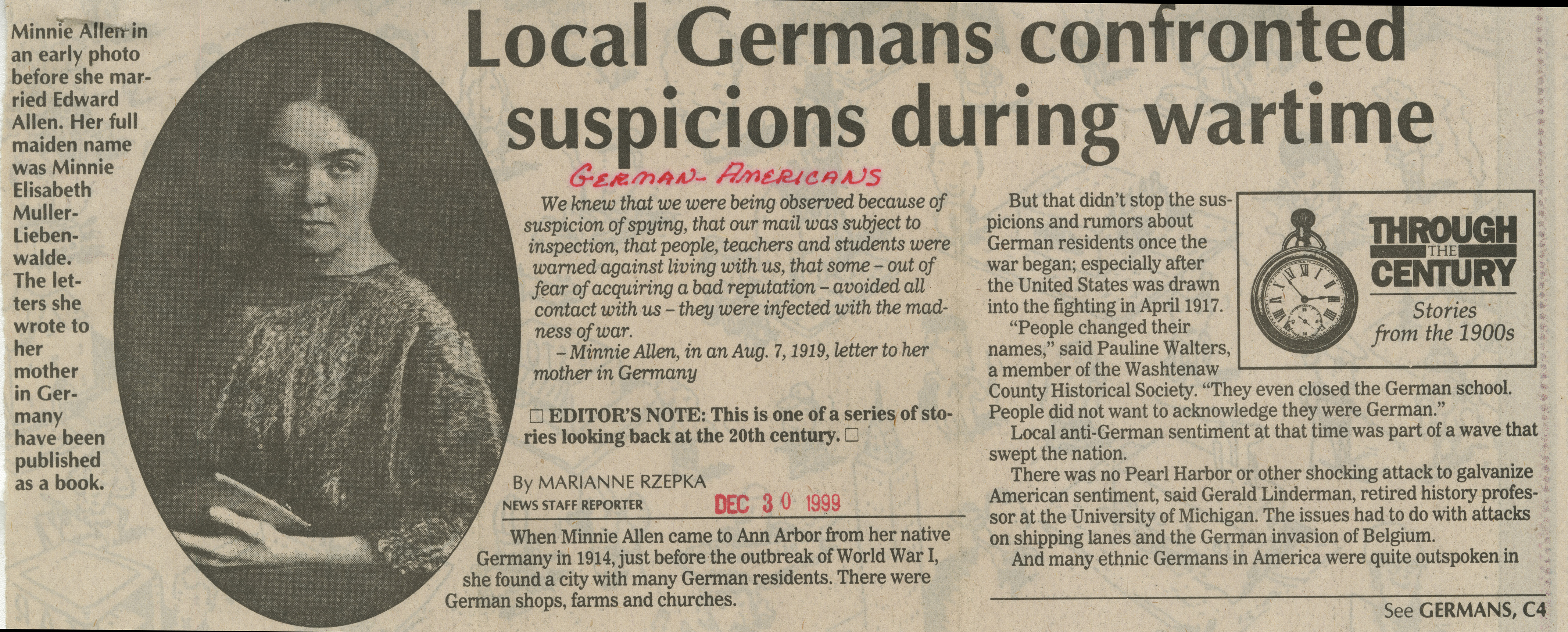 Local Germans confronted suspicions during wartime image