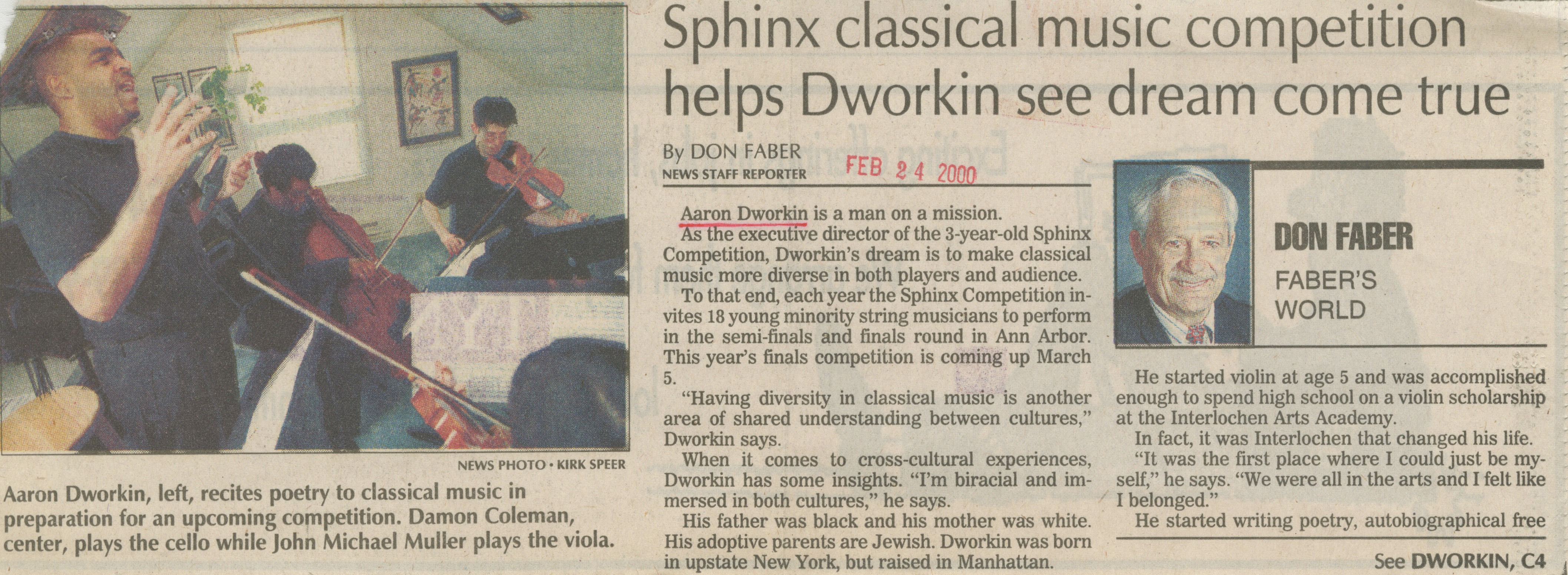 Sphinx classical music competition helps Dworkin see dream come true image