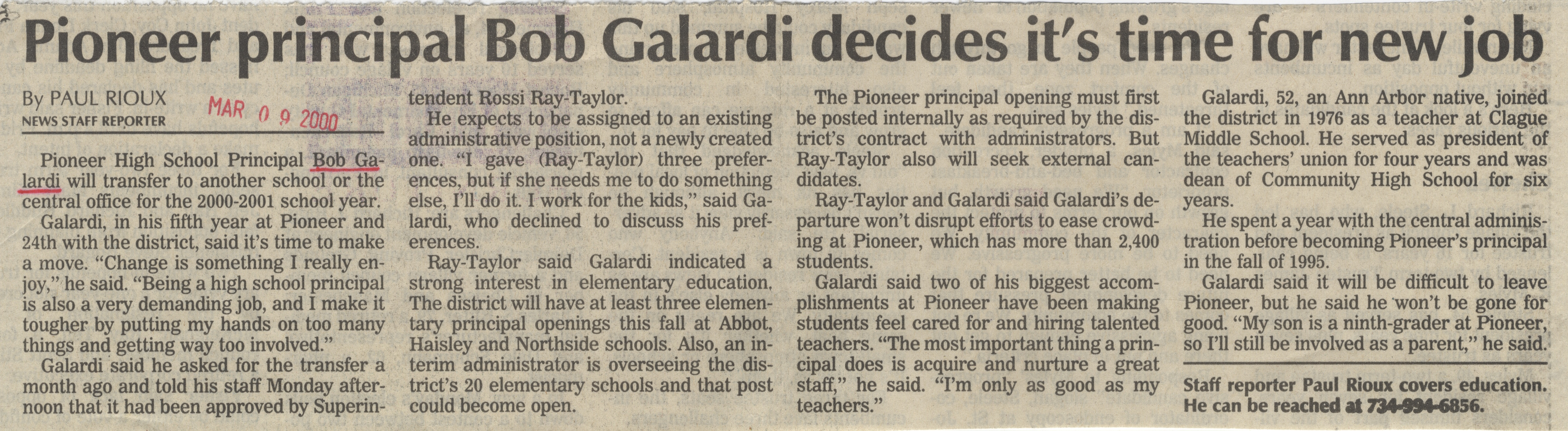Pioneer Principal Bob Galardi Decides It's Time For New Job image