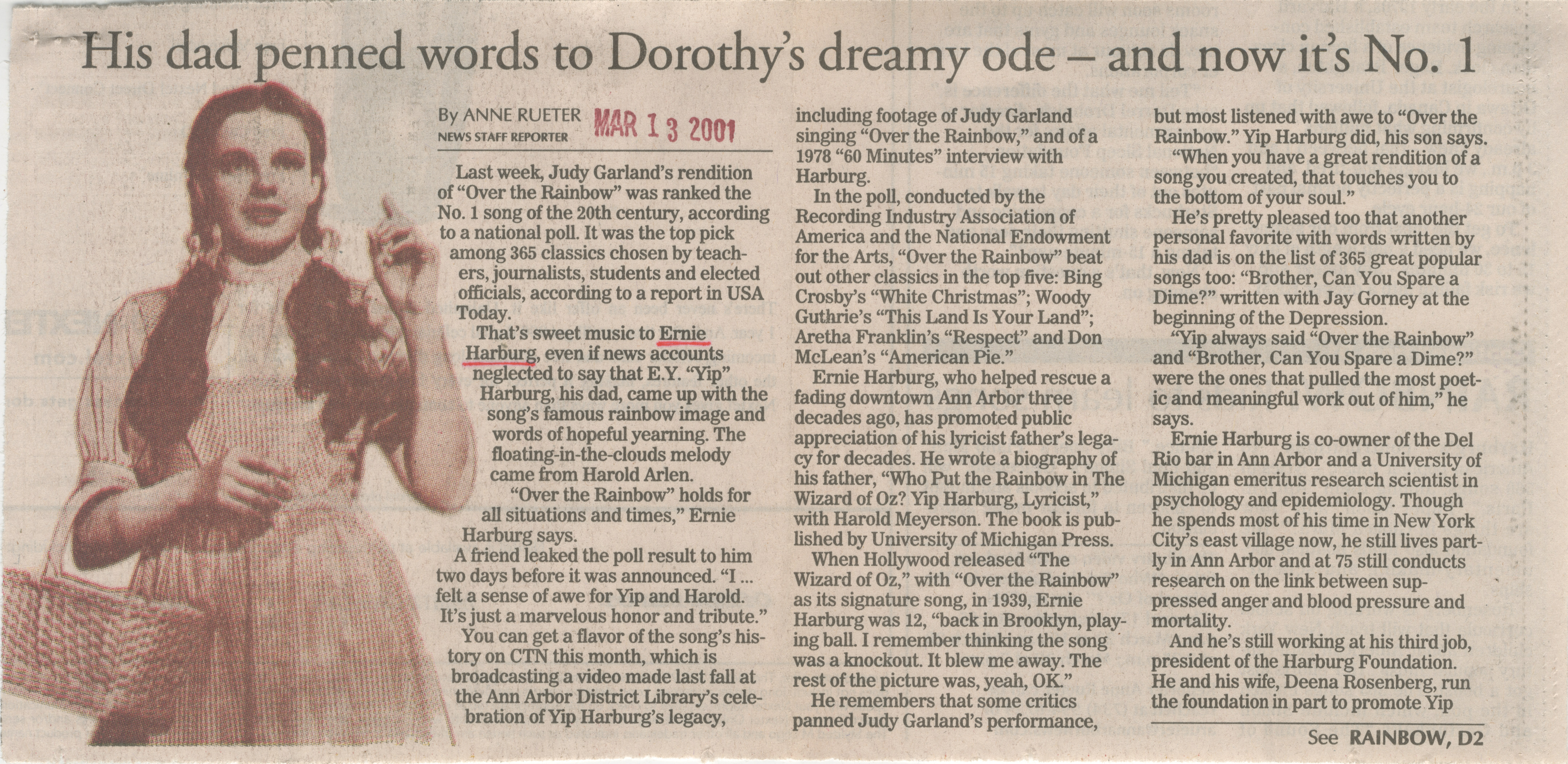 His Dad Penned Words To Dorothy's Dreamy Ode-And Now It's No. 1 image