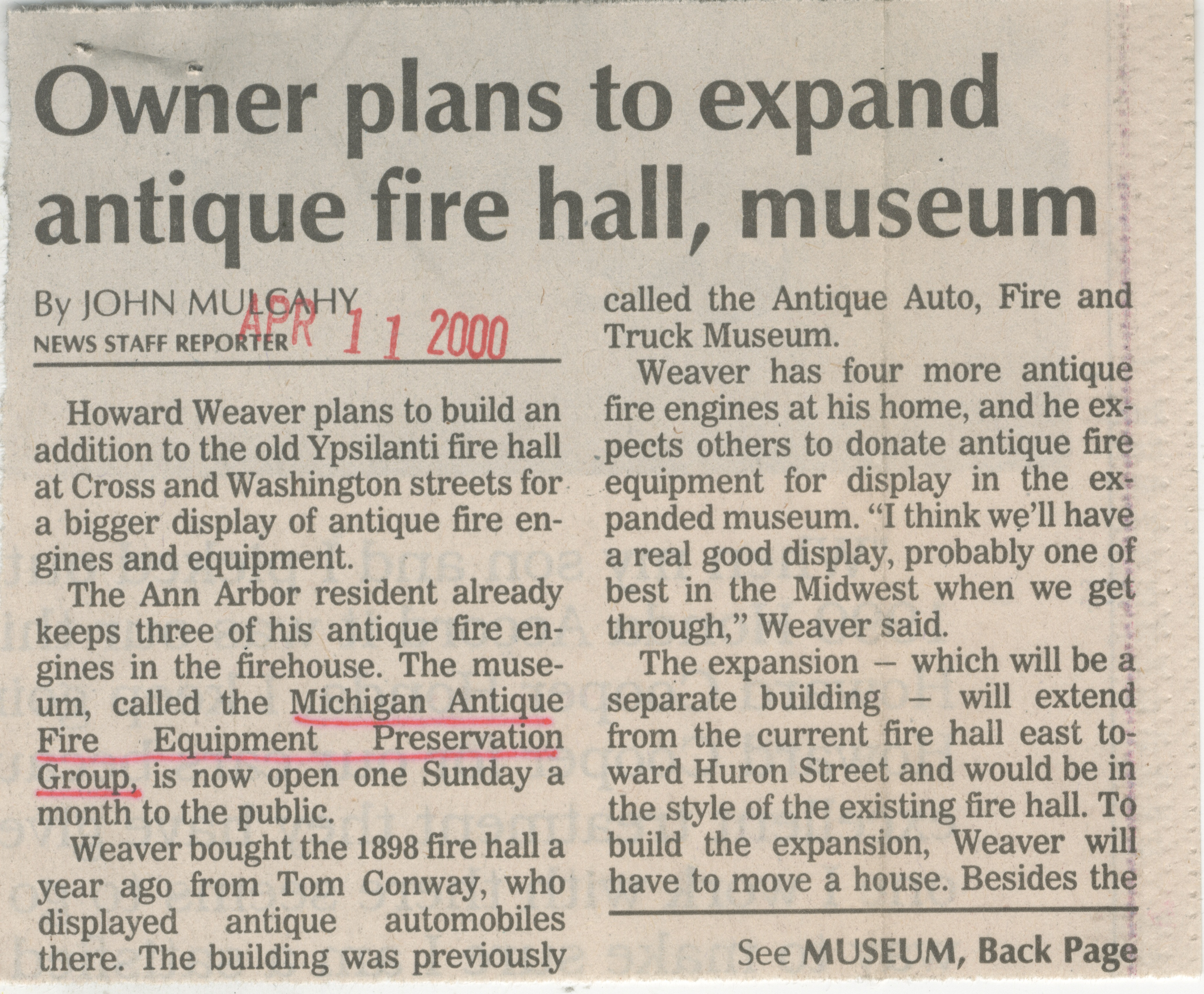 Owner Plans To Expand Antique Fire Hall, Museum image
