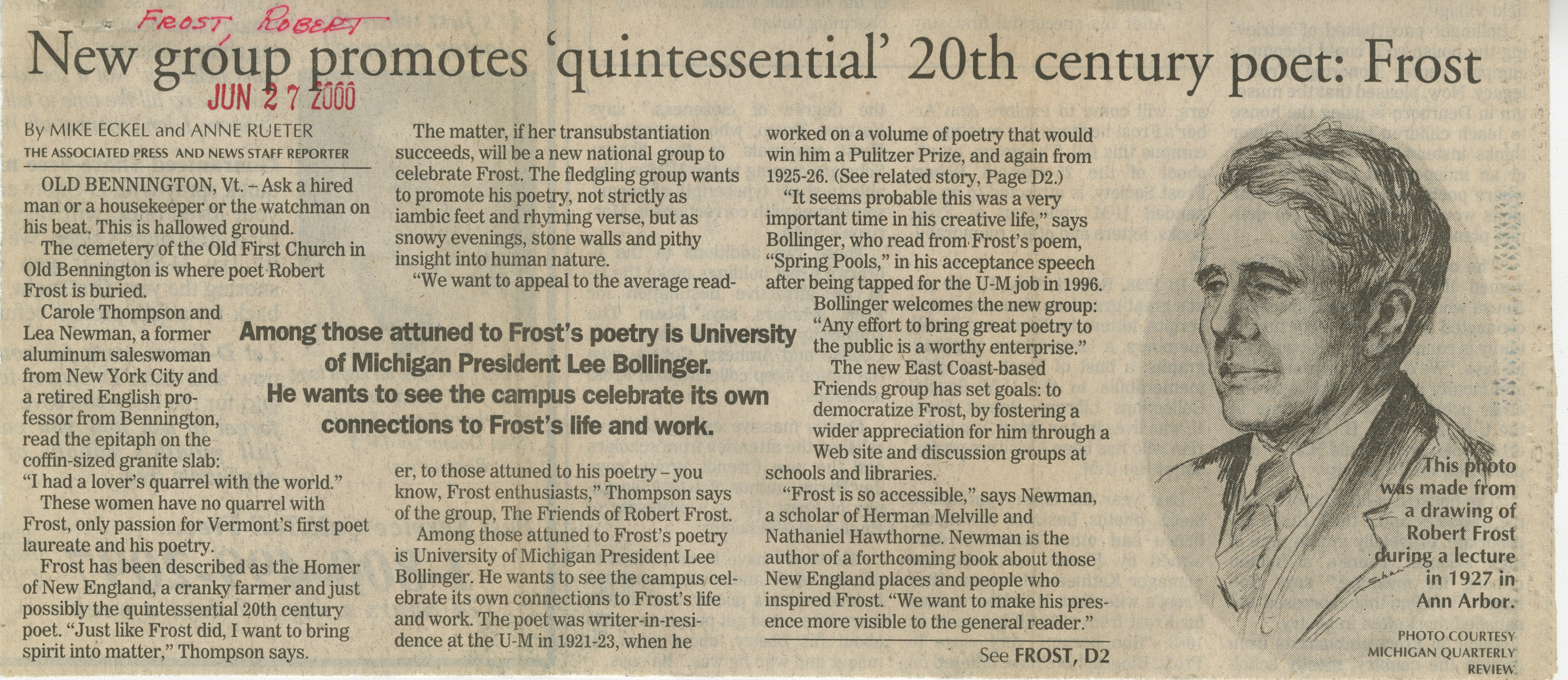 New group promotes 'quintessential' 20th century poet: Frost image