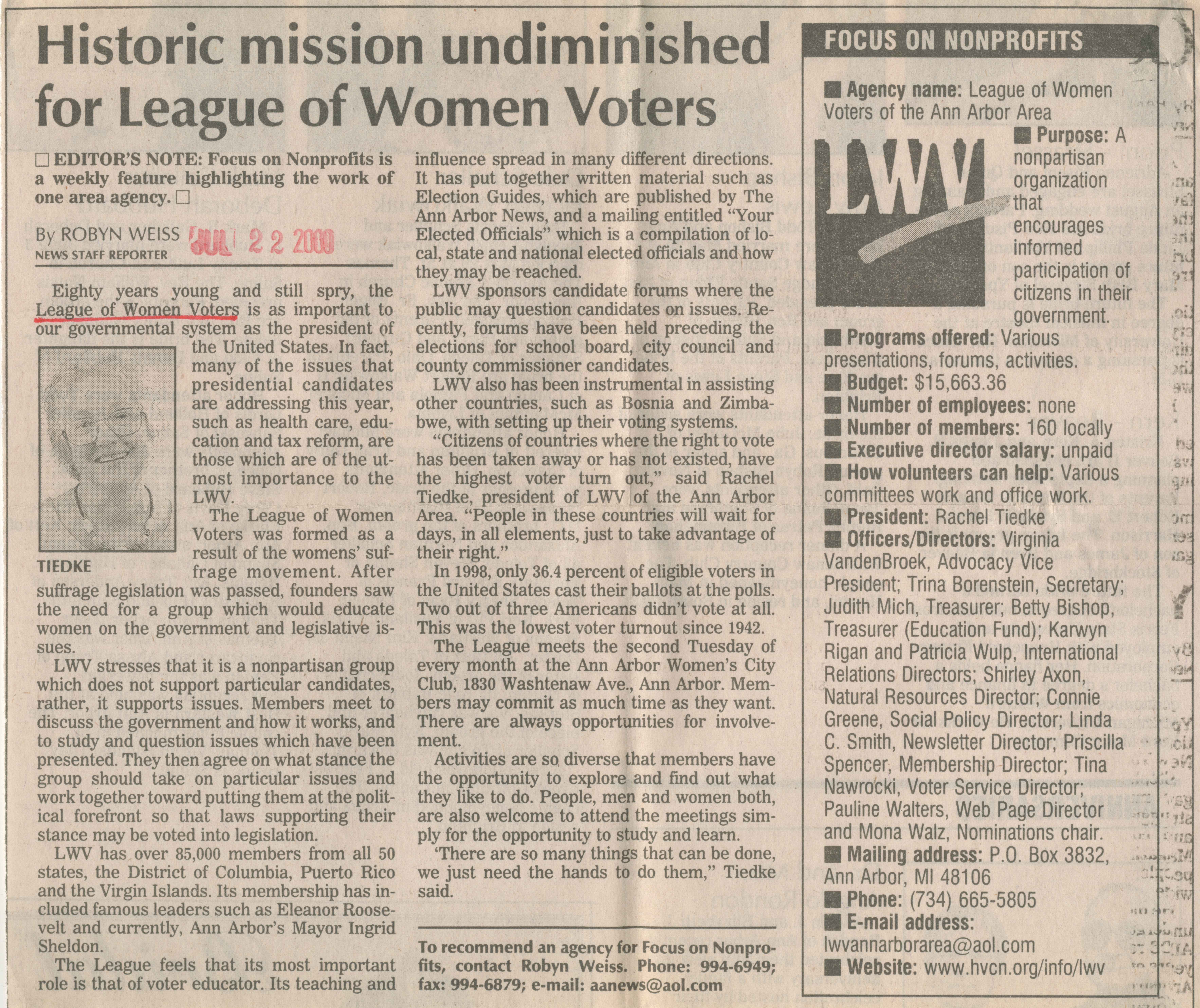 Historic mission undiminished for League of Women Voters image