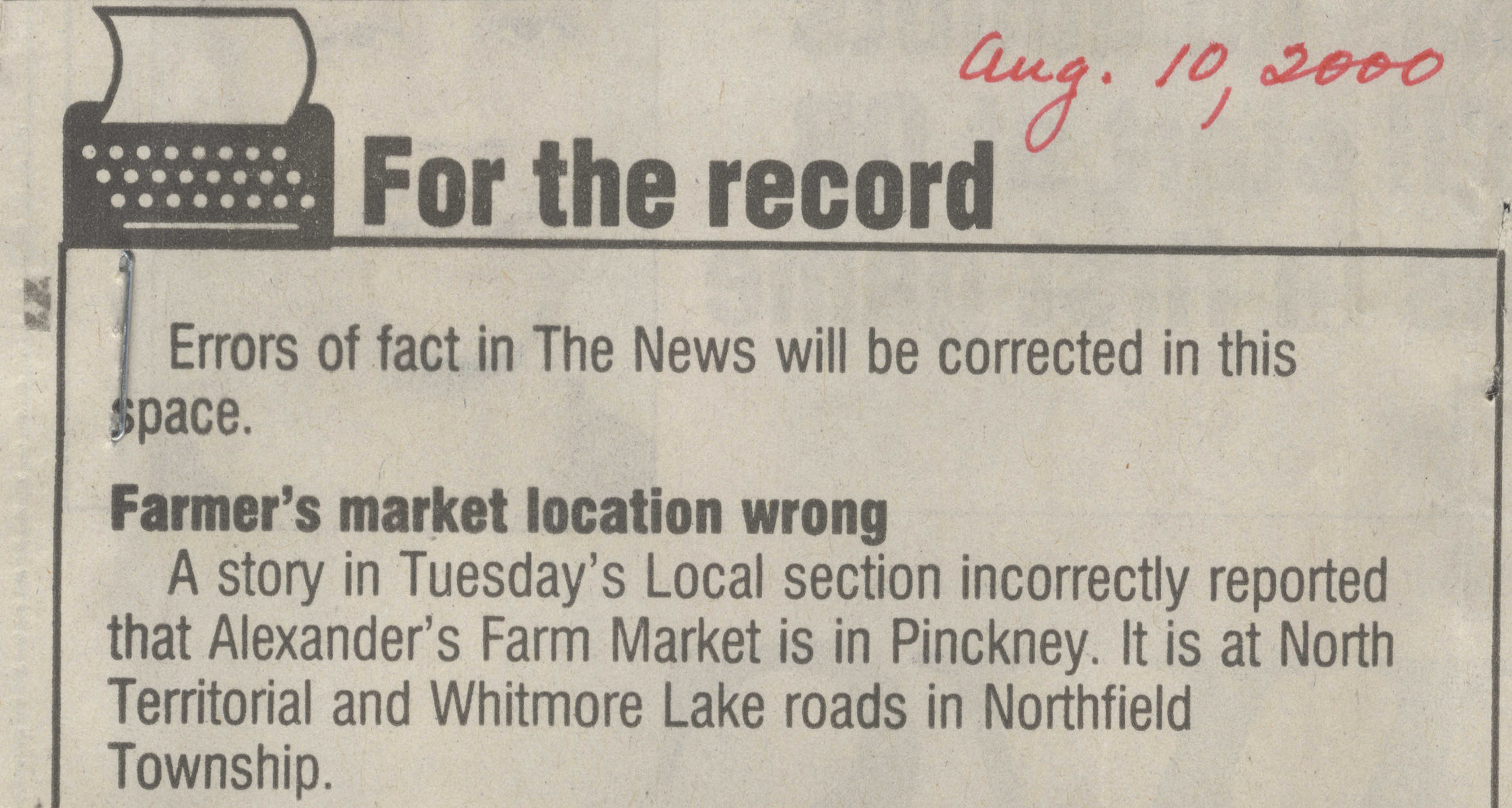 For the record: Farmers market location wrong image