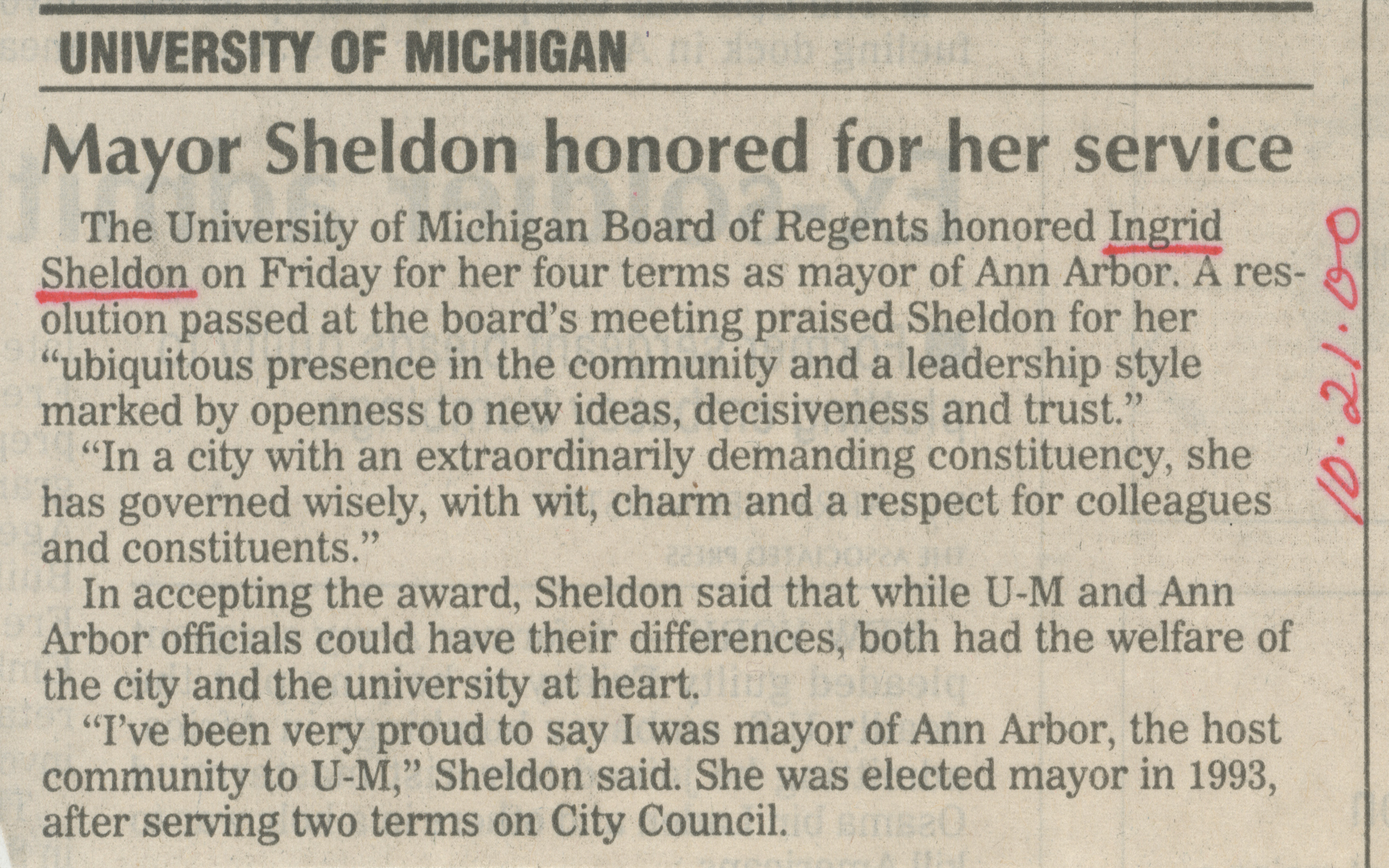 Mayor Sheldon honored for her service image