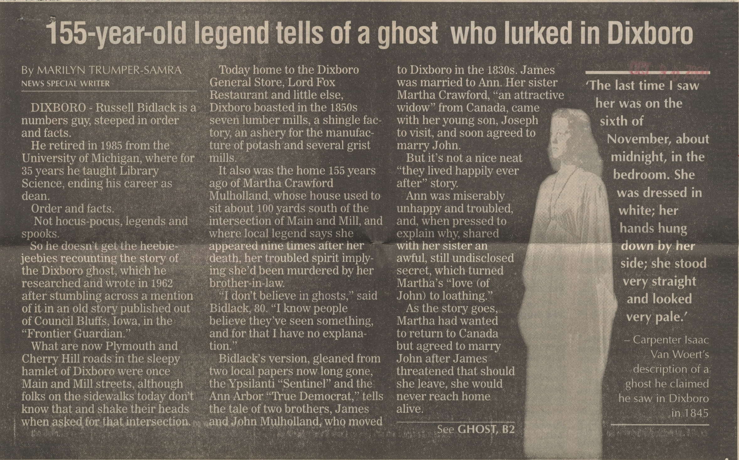 155-year-old legend tells of a ghost who lurked in Dixboro image