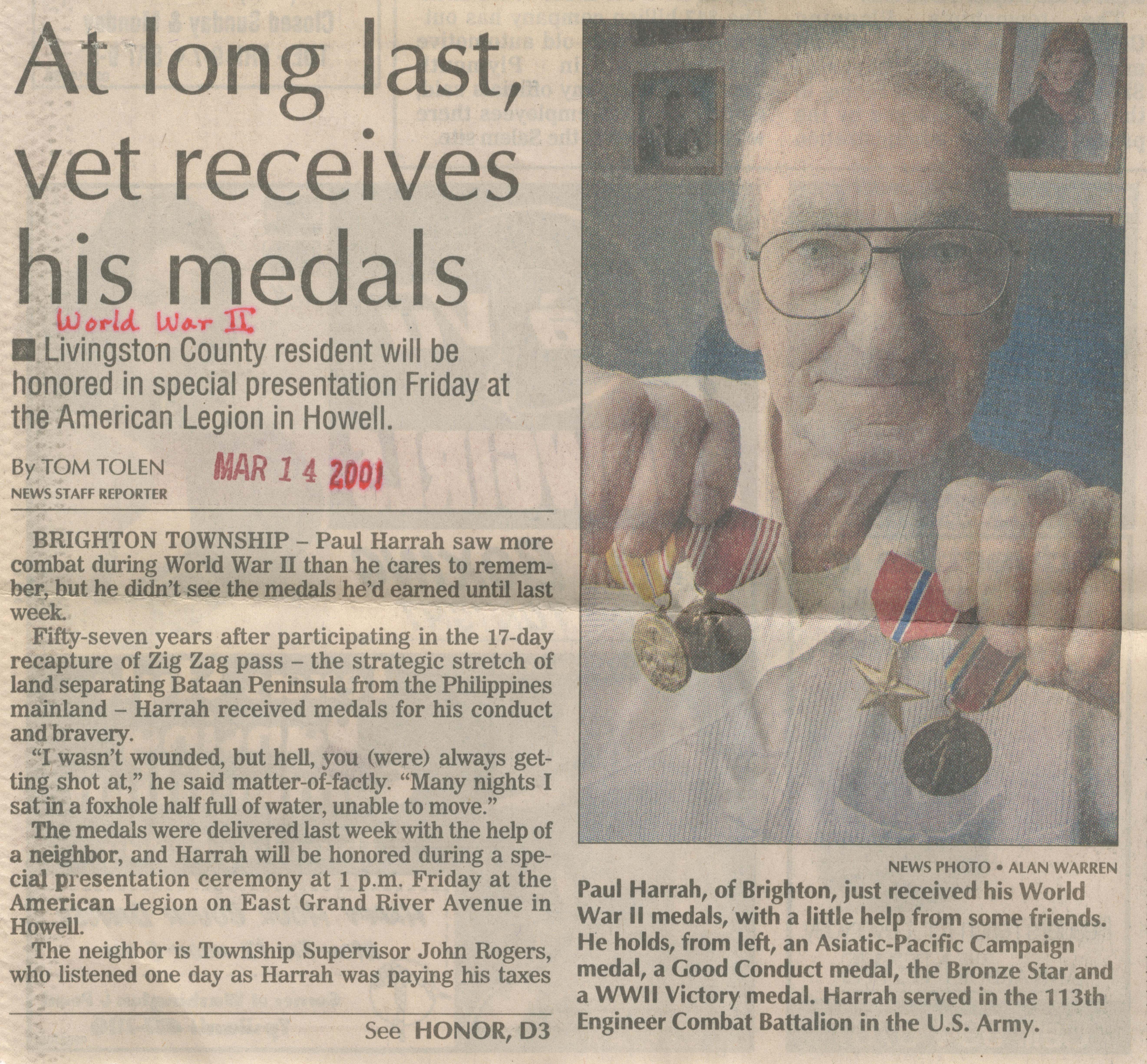 At long last, vet receives his medals image