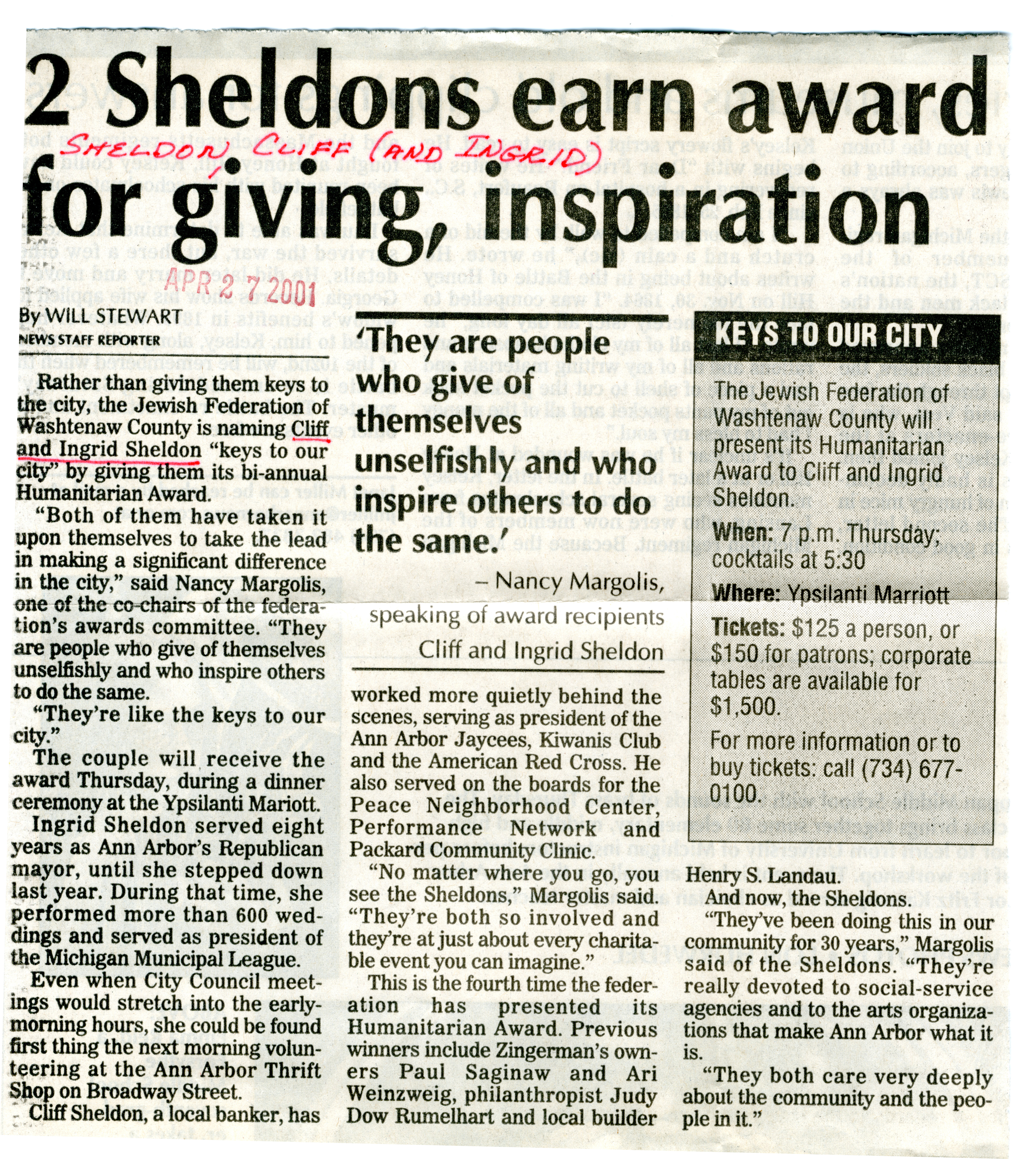 2 Sheldons earn award for giving, inspiration image