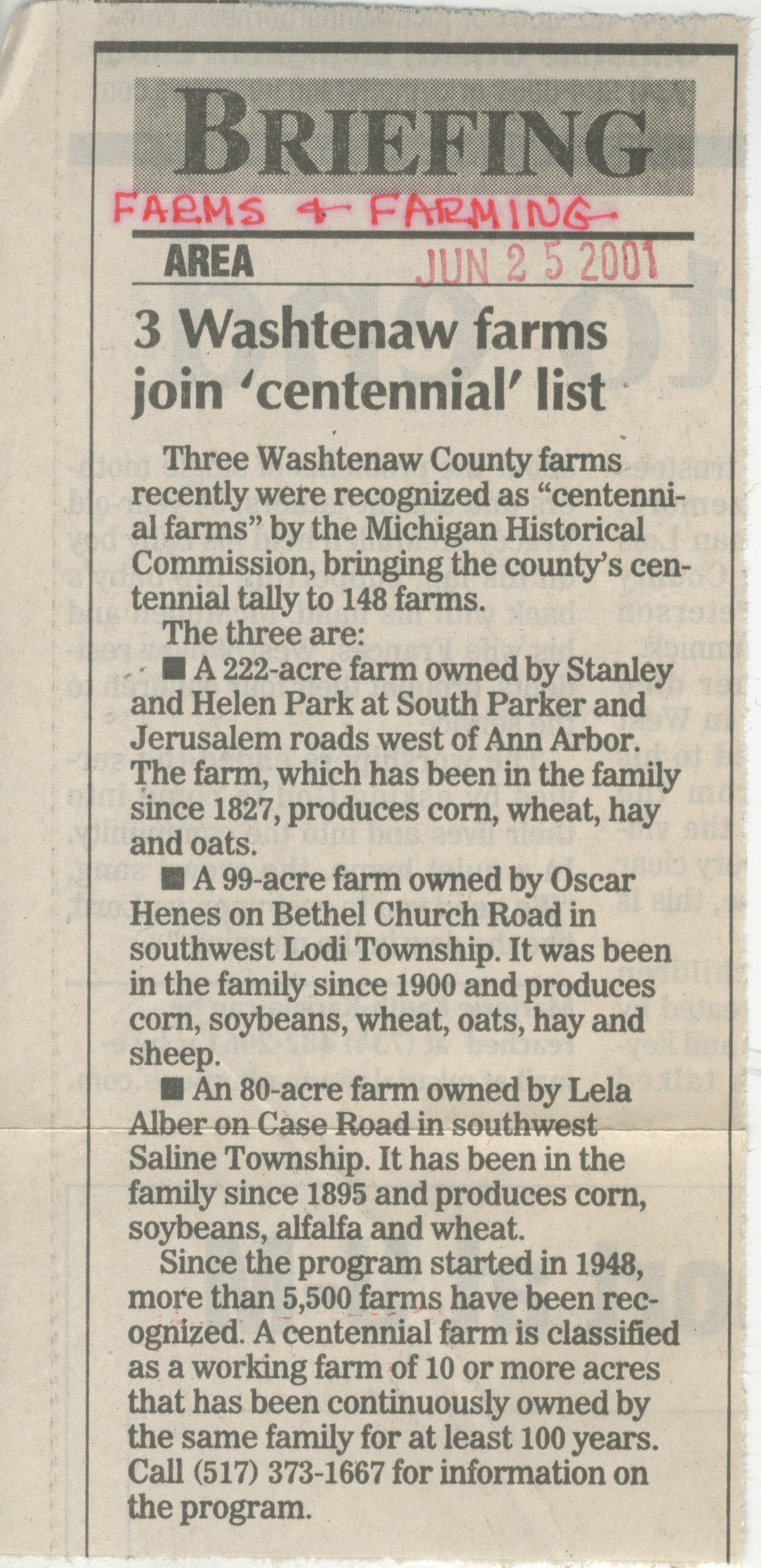 3 Washtenaw Farms Join 'Centennial' List image