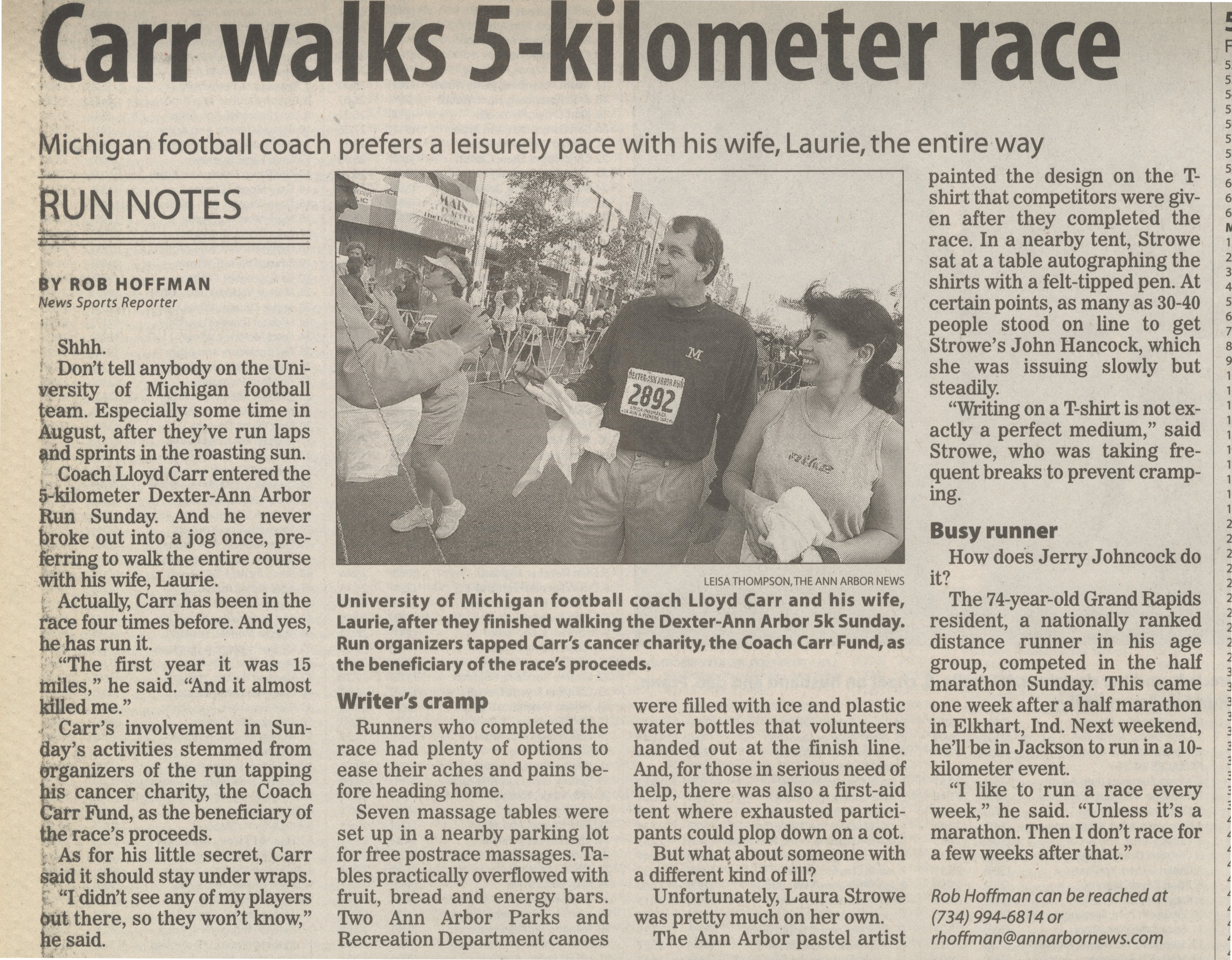 Carr walks 5-kilometer race image