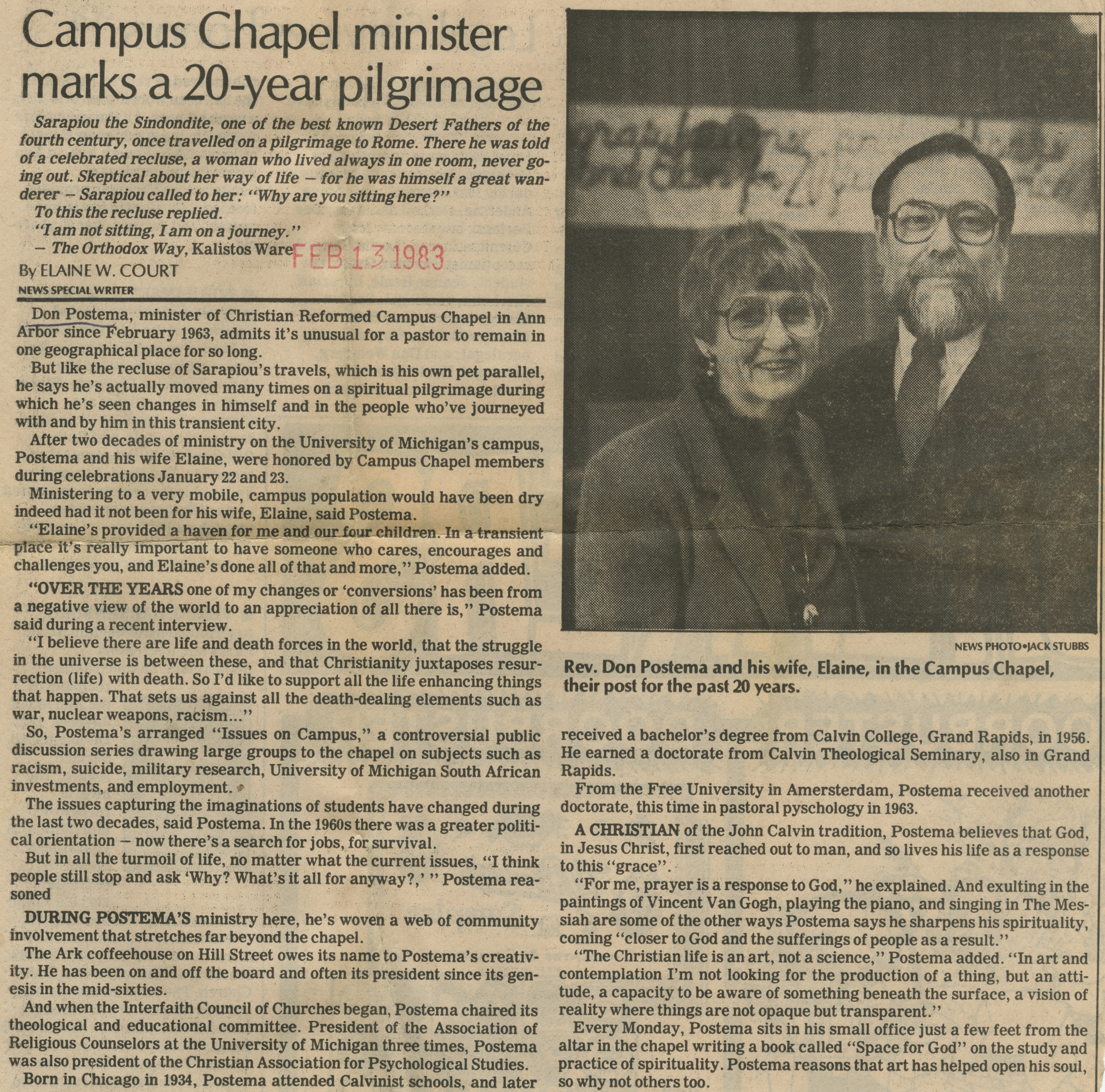 Campus Chapel minister marks a 20-year pilgrimage image