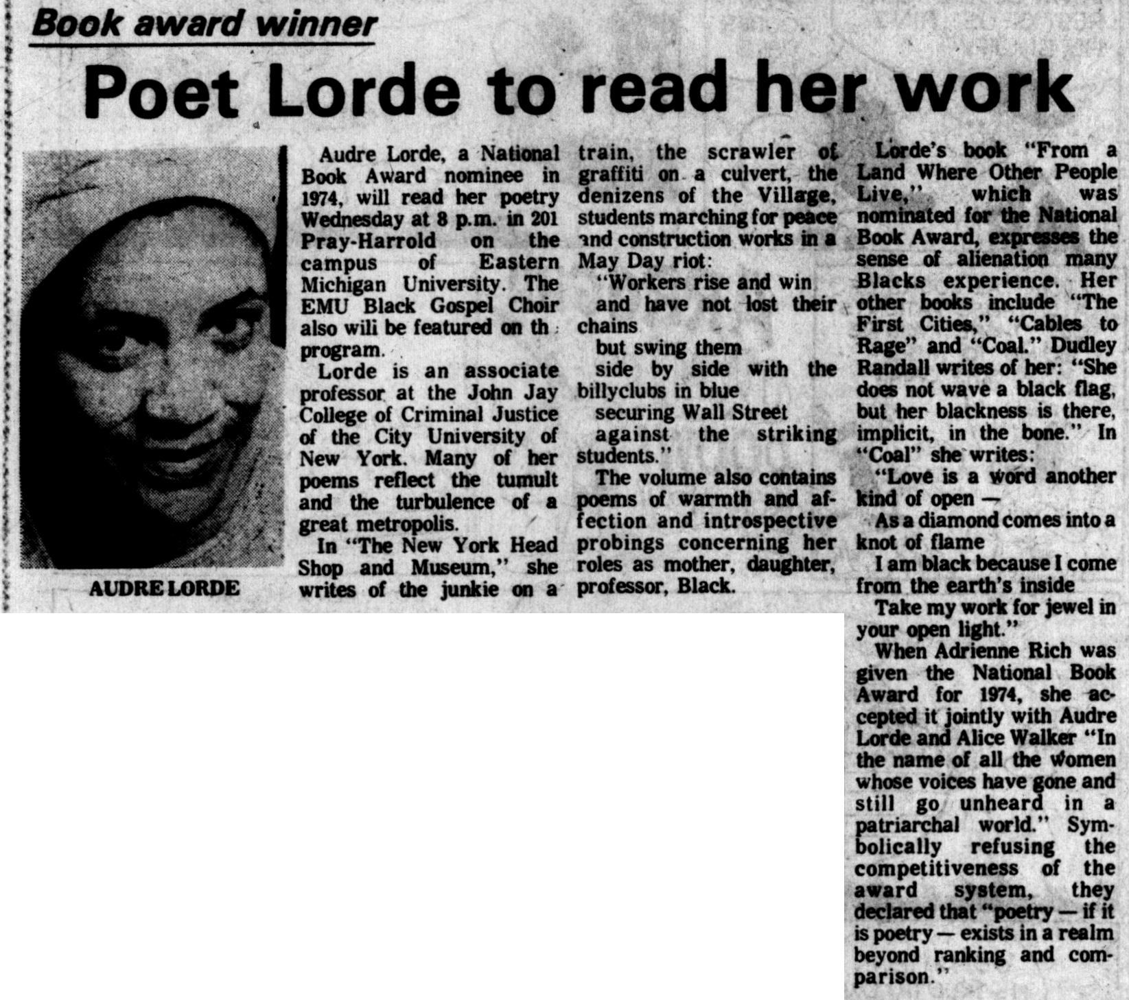 Poet Lorde to read her work image
