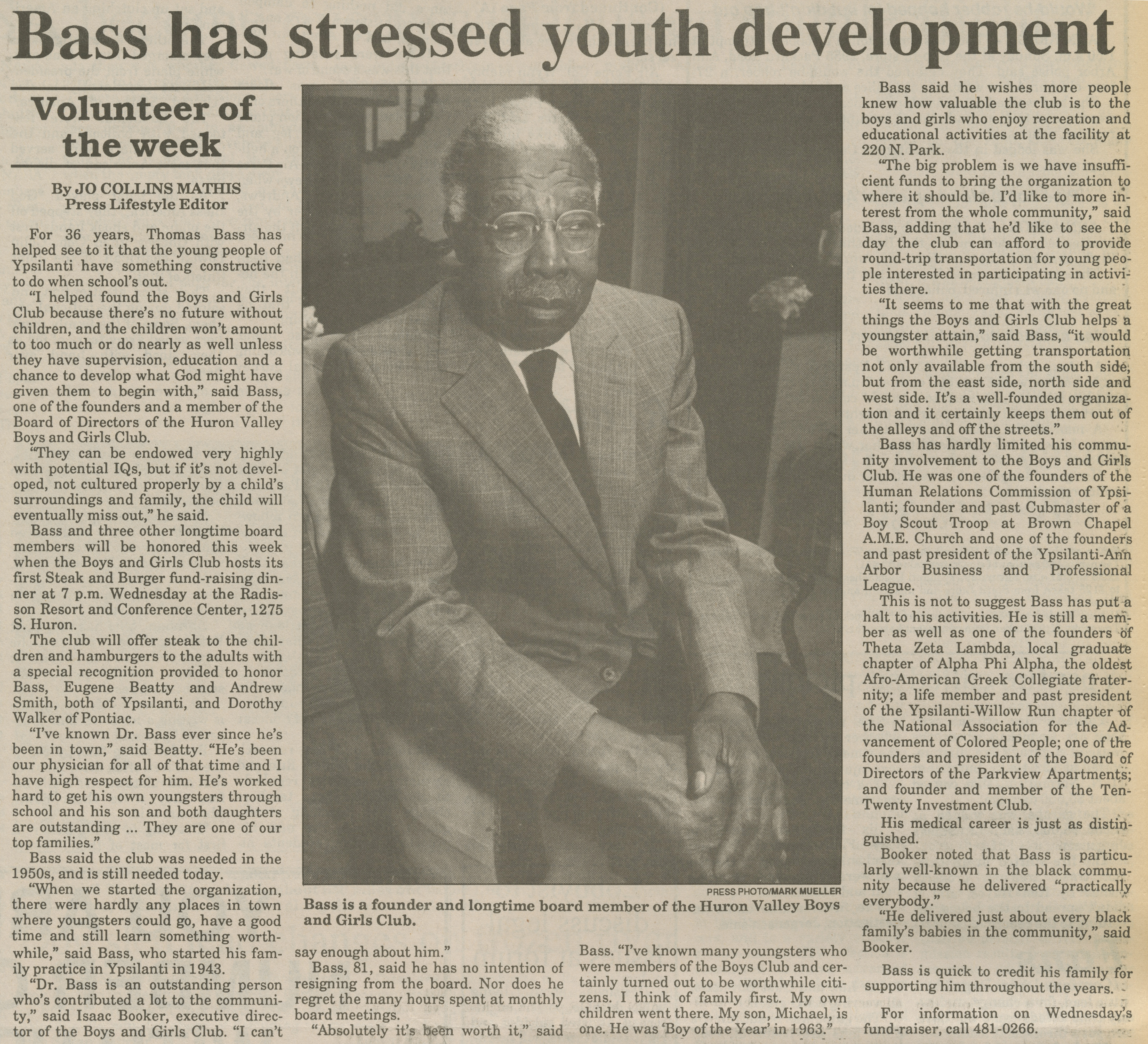 Bass Has Stressed Youth Development image