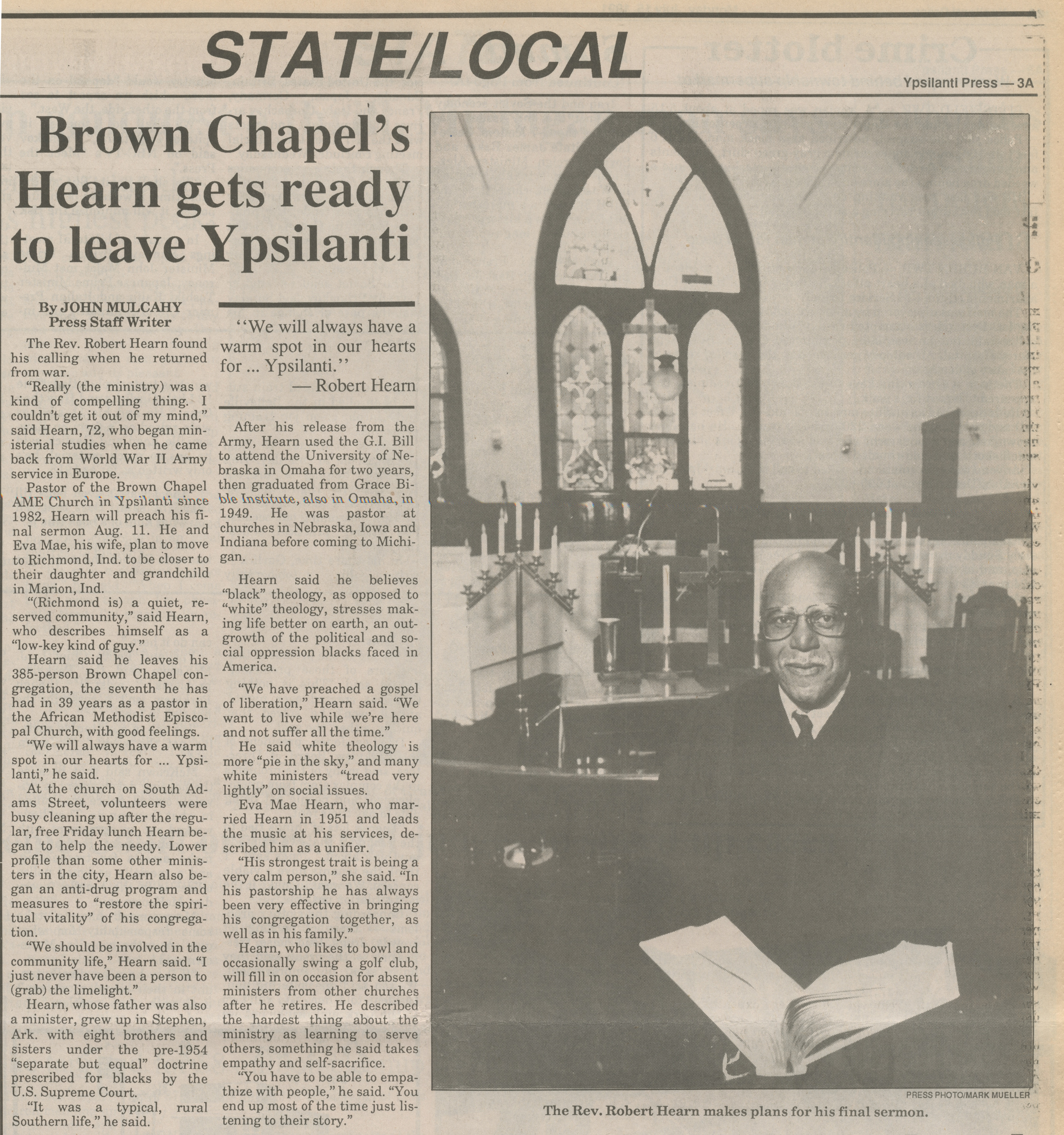 Brown Chapel's Hearn Gets Ready To Leave Ypsilanti image