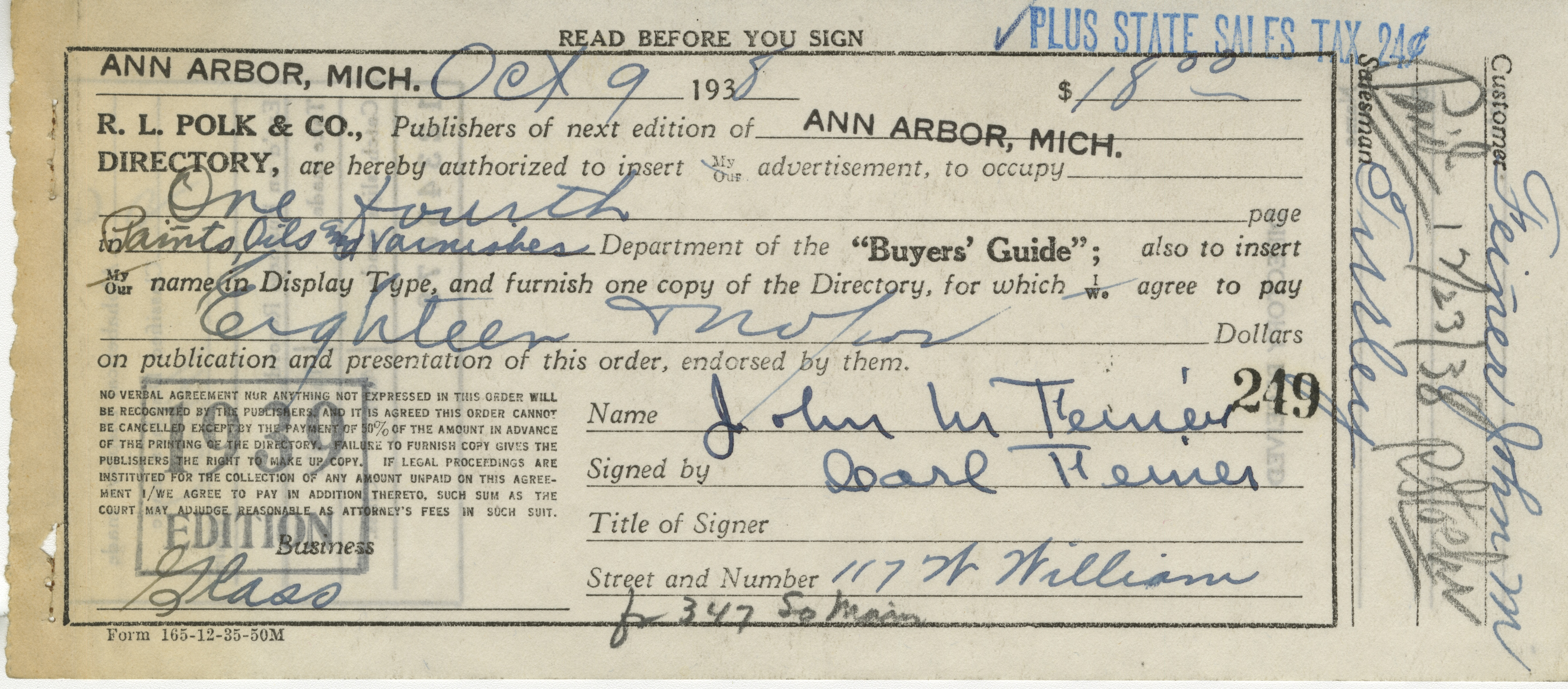 Receipt for authorization of 1/4 paid advertisement in 1939 Ann Arbor City Directory, by John M. Feiner, on Behalf of John M. Feiner Paints, Oils, Glass and Glazing, October 9, 1938 image
