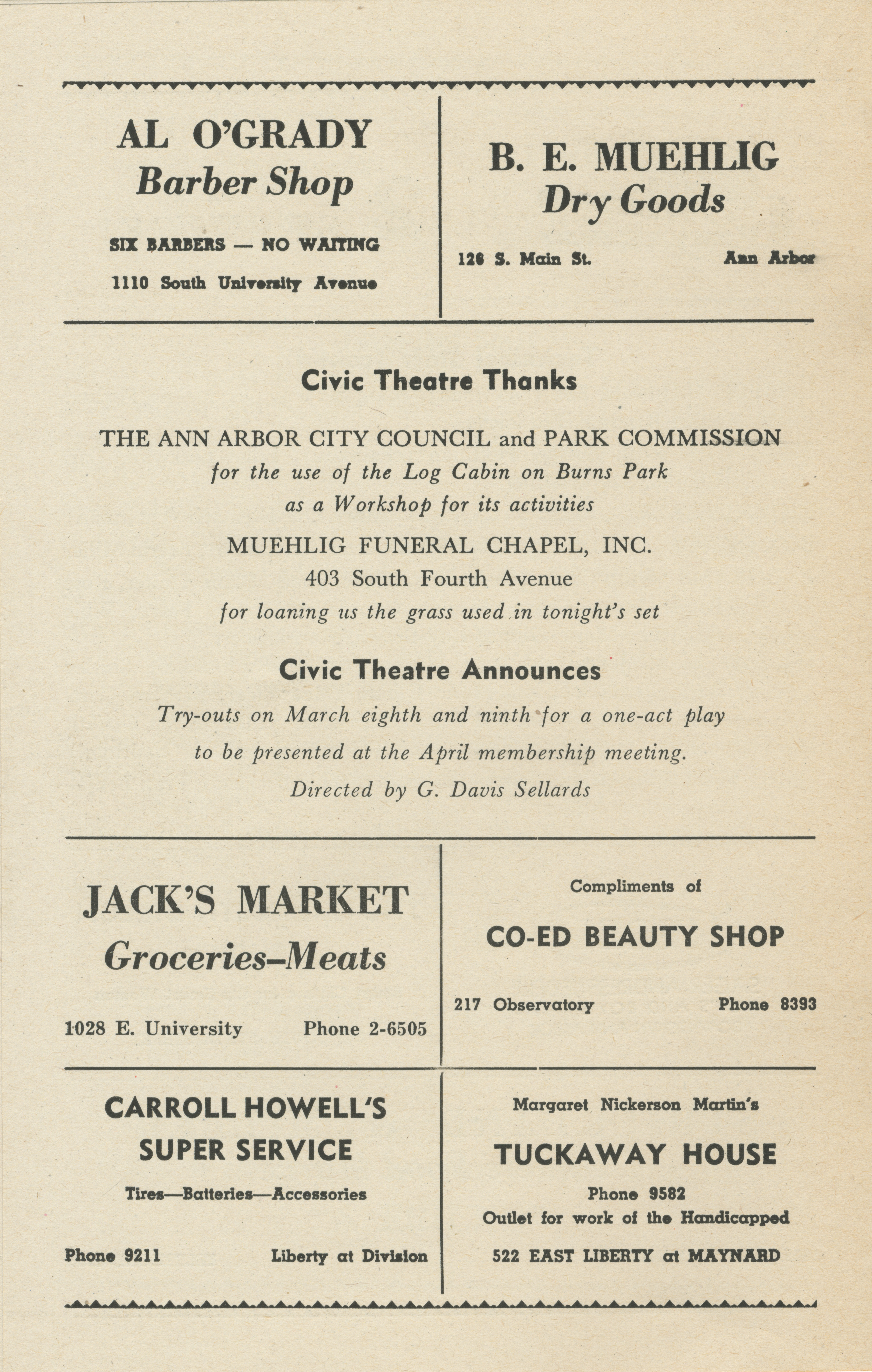 Ann Arbor Civic Theatre Program: All My Sons, March 02, 1949 image