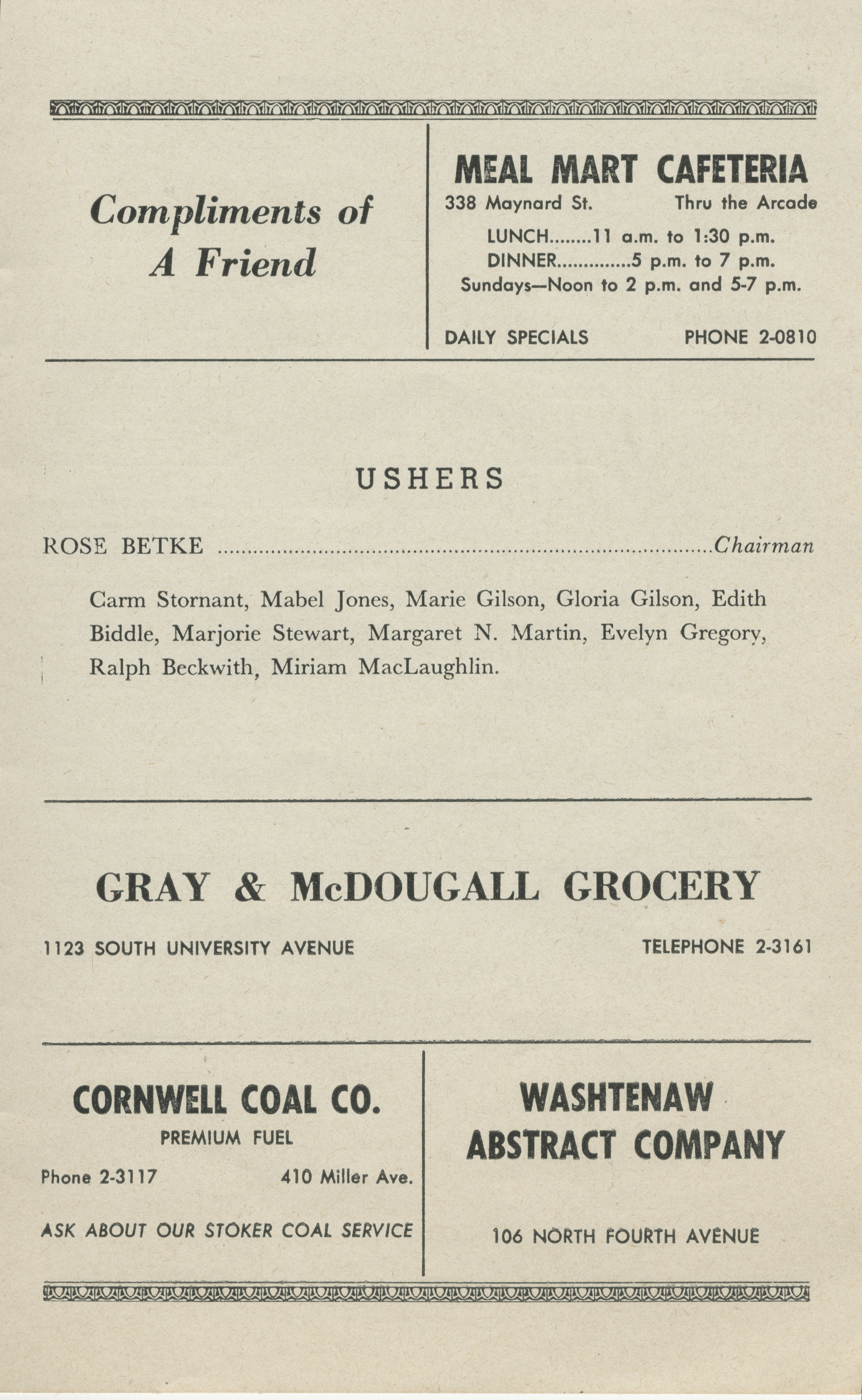 Ann Arbor Civic Theatre Program: Male Animal, April 11, 1950 image