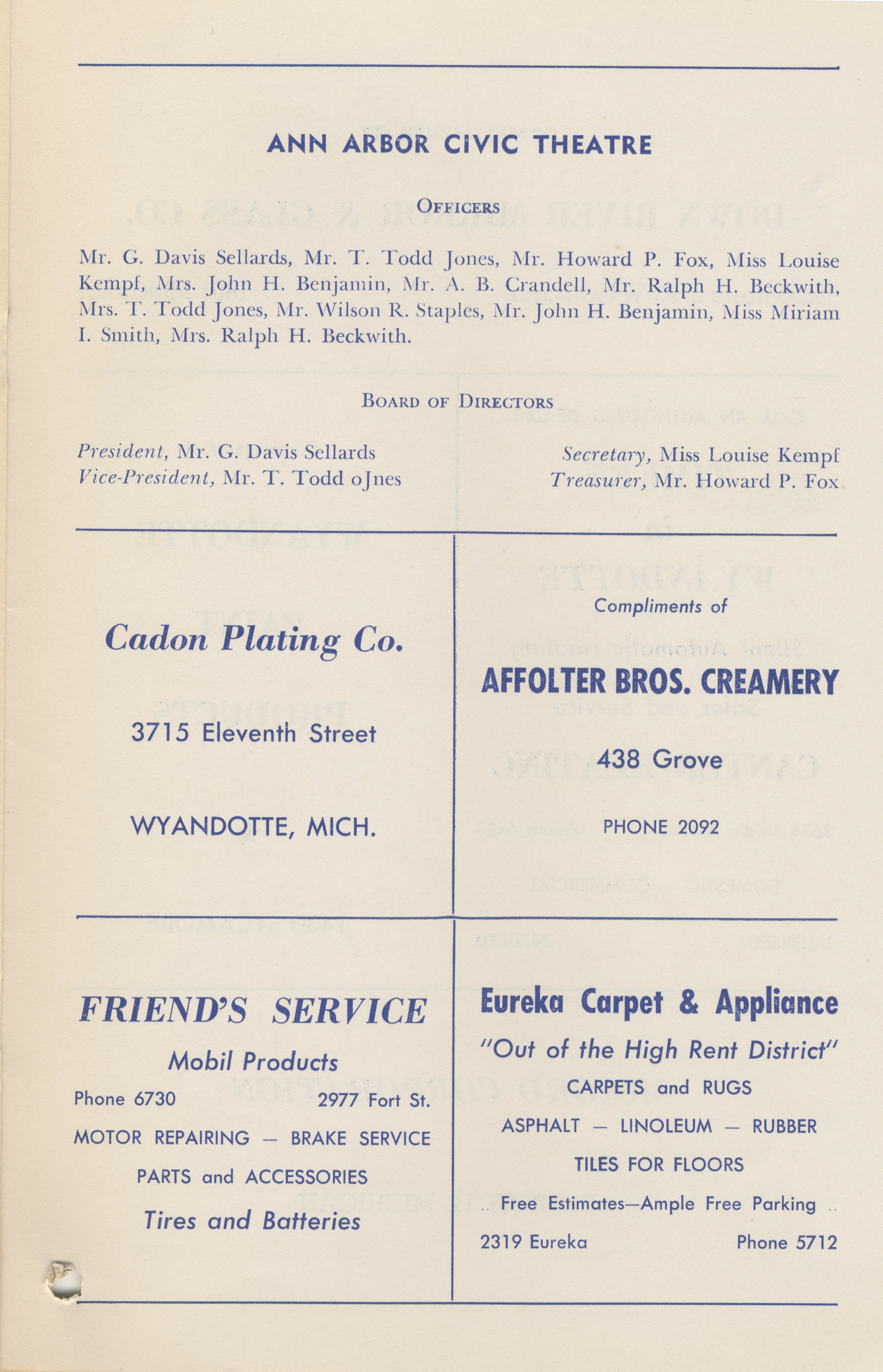 Ann Arbor Civic Theatre Program: Fundraising Performance of Male Animal, May 06, 1950 image