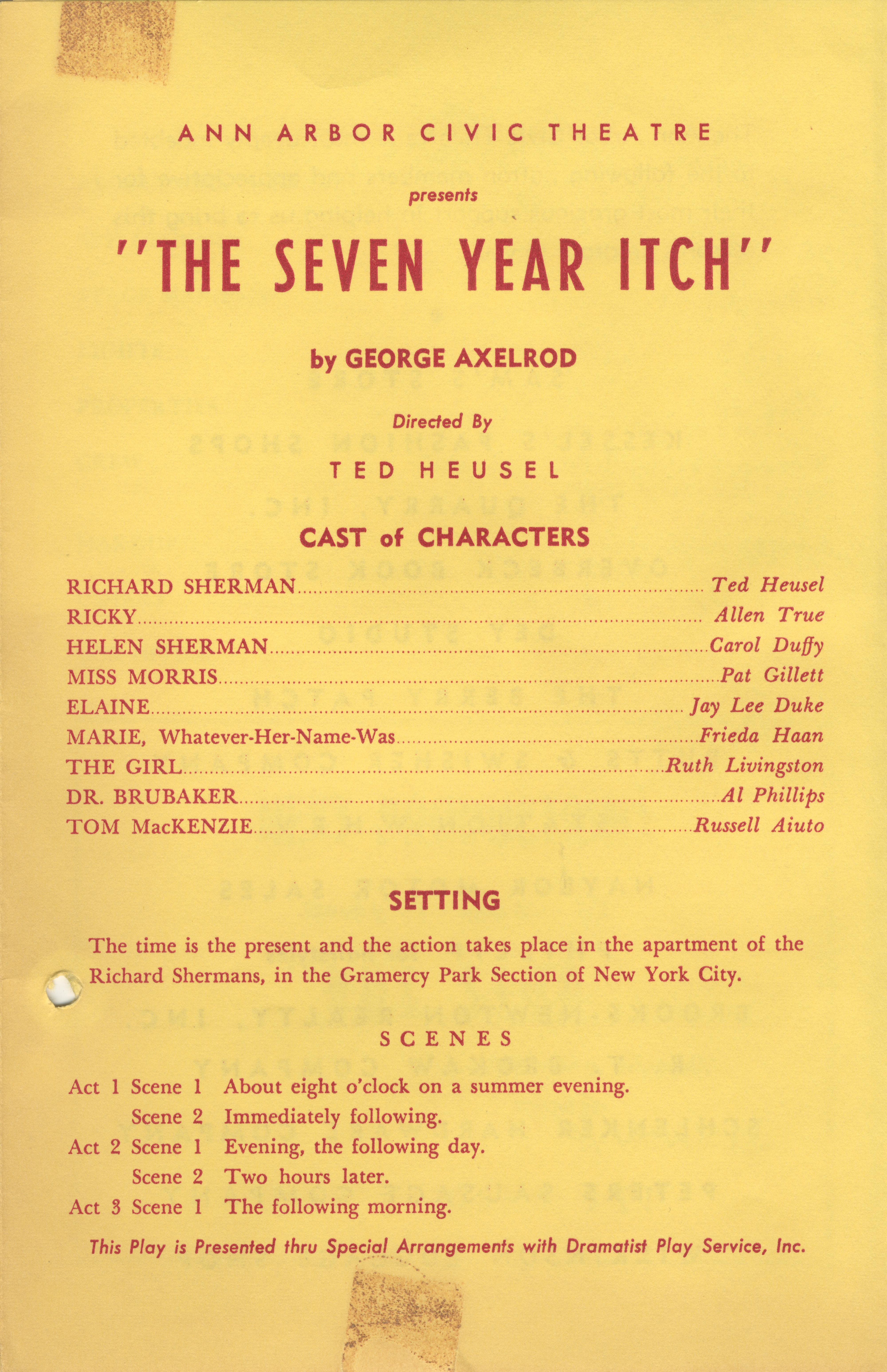 Ann Arbor Civic Theatre Program: Seven Year Itch, January 03, 1957 image