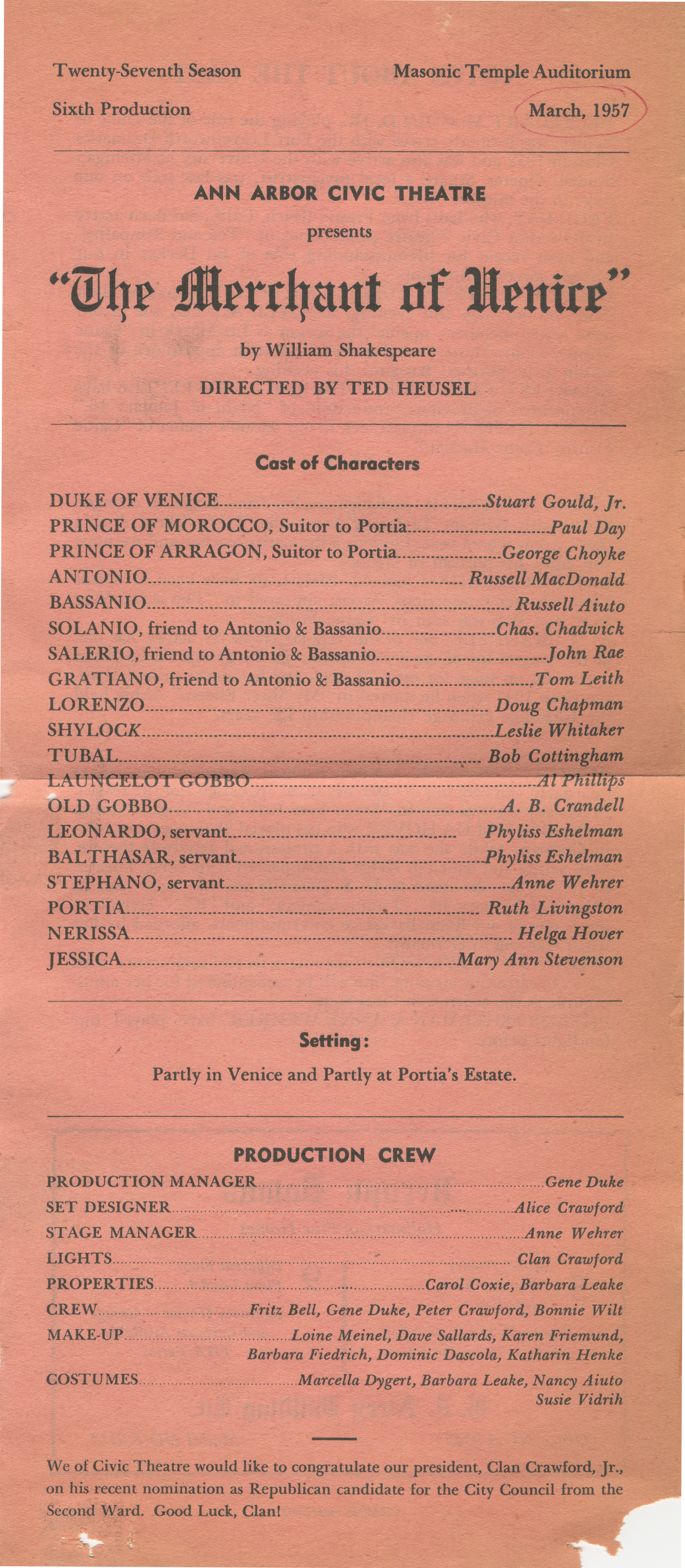 Ann Arbor Civic Theatre Program: The Merchant of Venice, March 28, 1957 image
