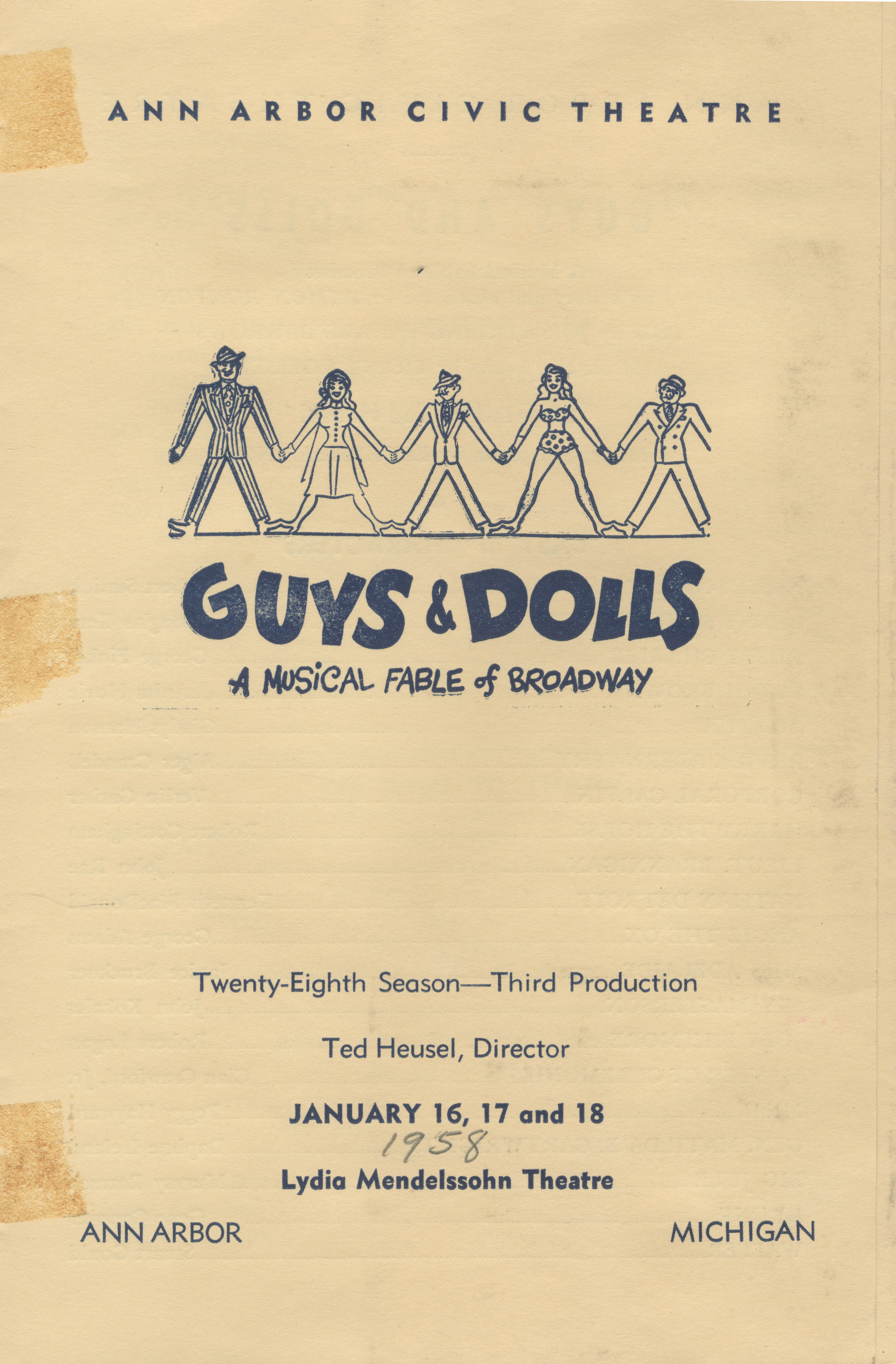 Ann Arbor Civic Theatre Program: Guys and Dolls, January 16, 1958 image