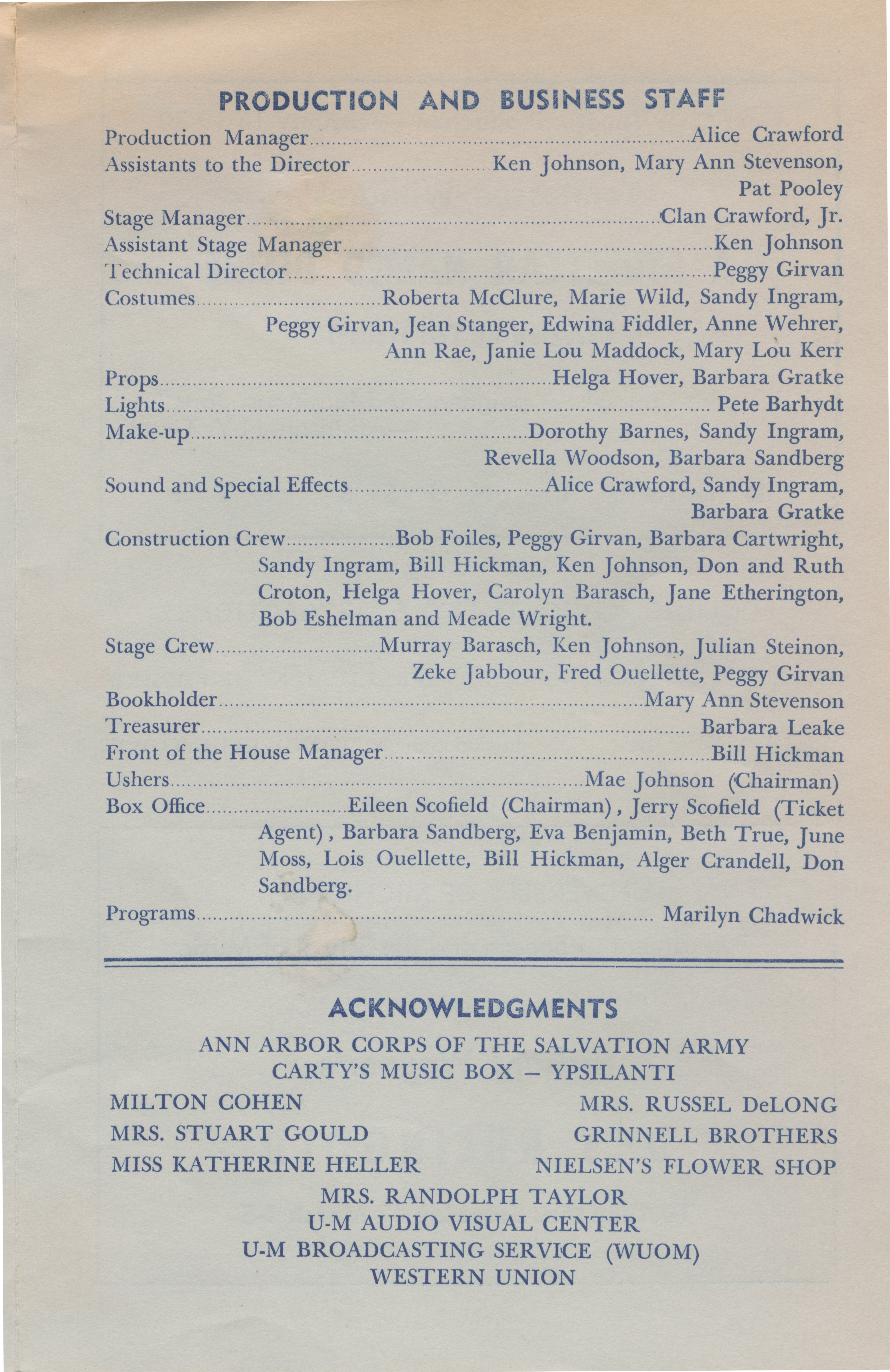 Ann Arbor Civic Theatre Program: Major Barbara, January 14, 1960 image