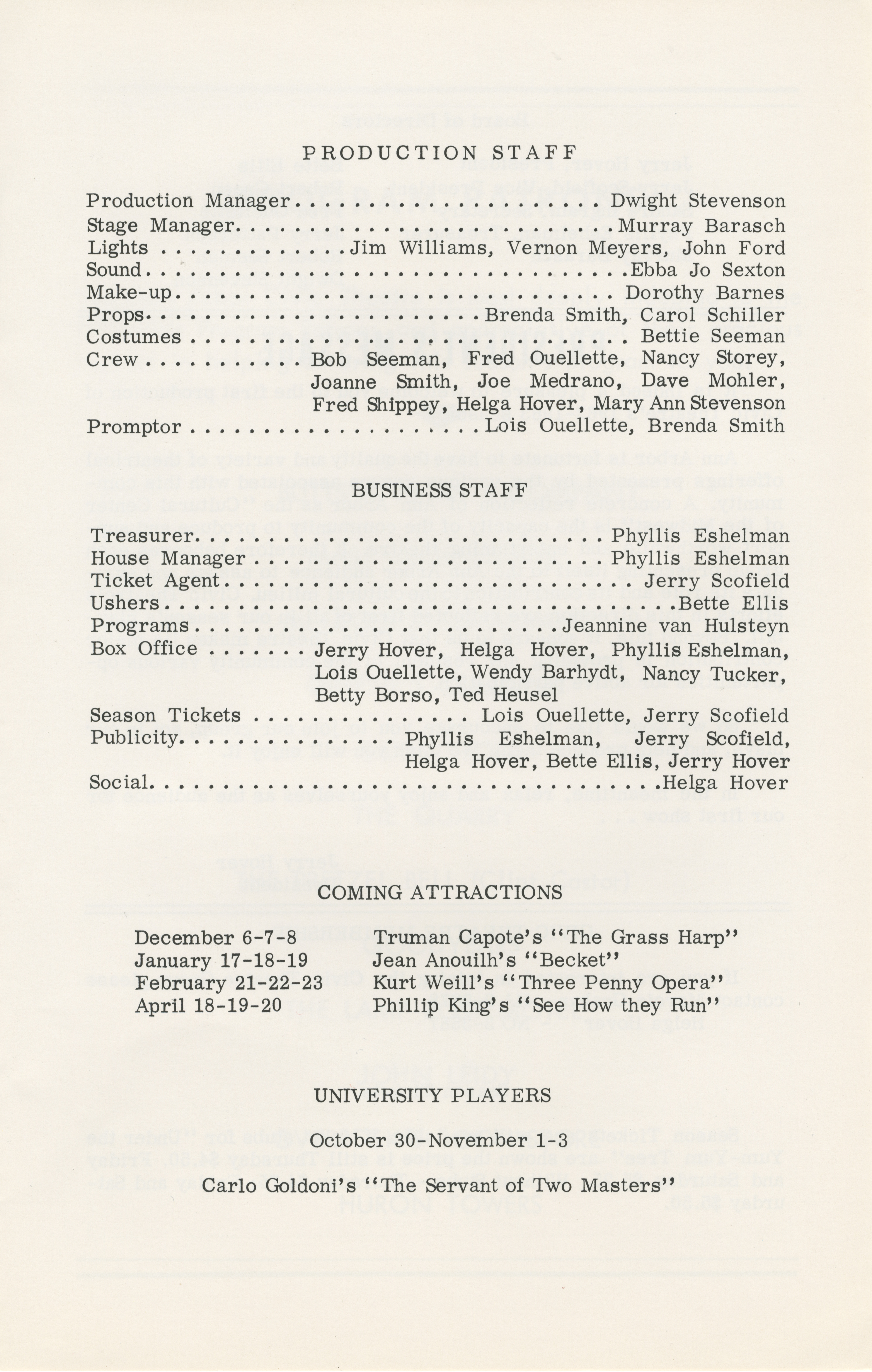 Ann Arbor Civic Theatre Program: Under the Yum-Yum Tree, September 27, 1962 image