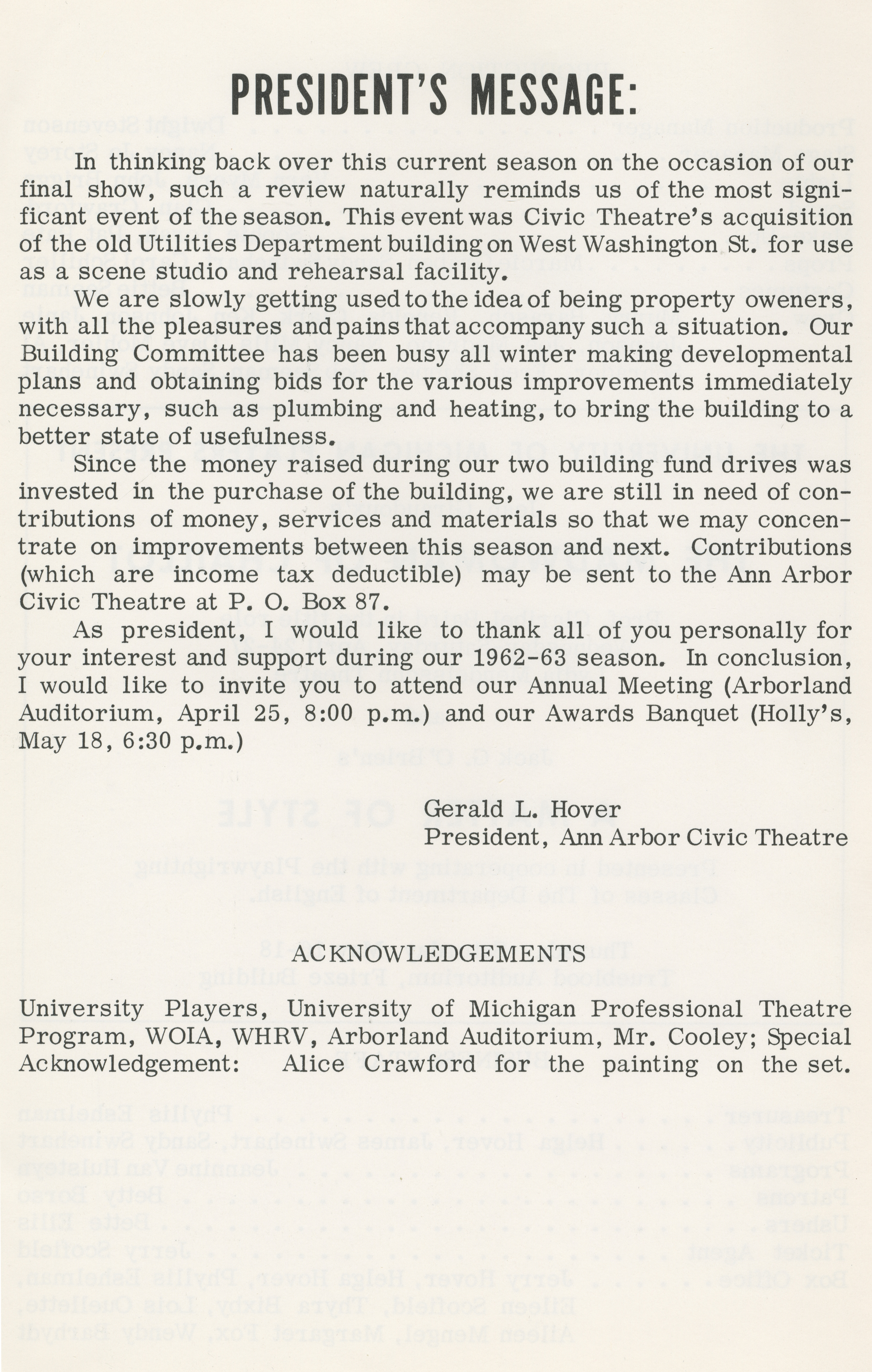 Ann Arbor Civic Theatre Program: See How They Run, April 18, 1963 image