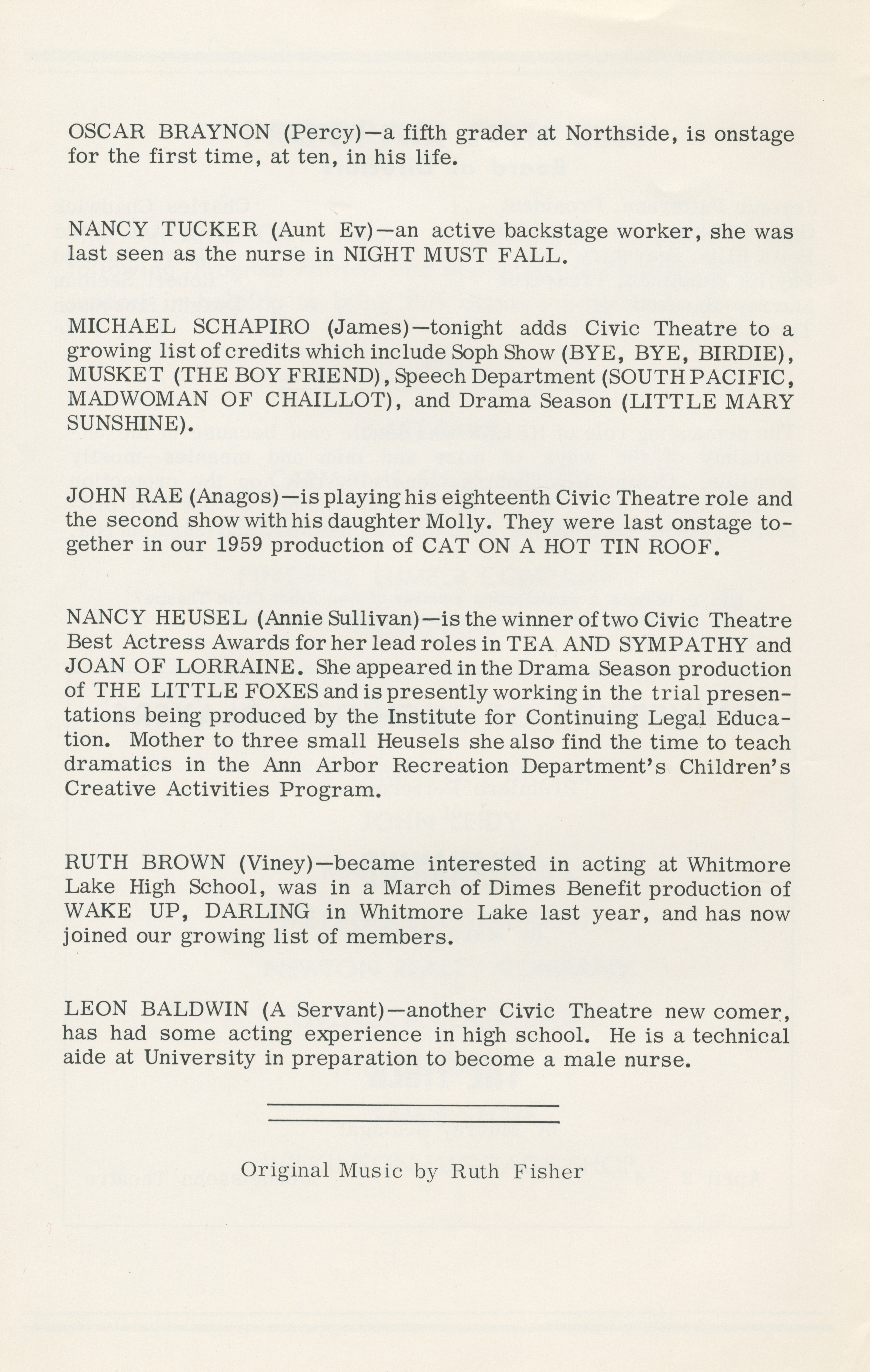 Ann Arbor Civic Theatre Program: The Miracle Worker, March 19, 1964 image