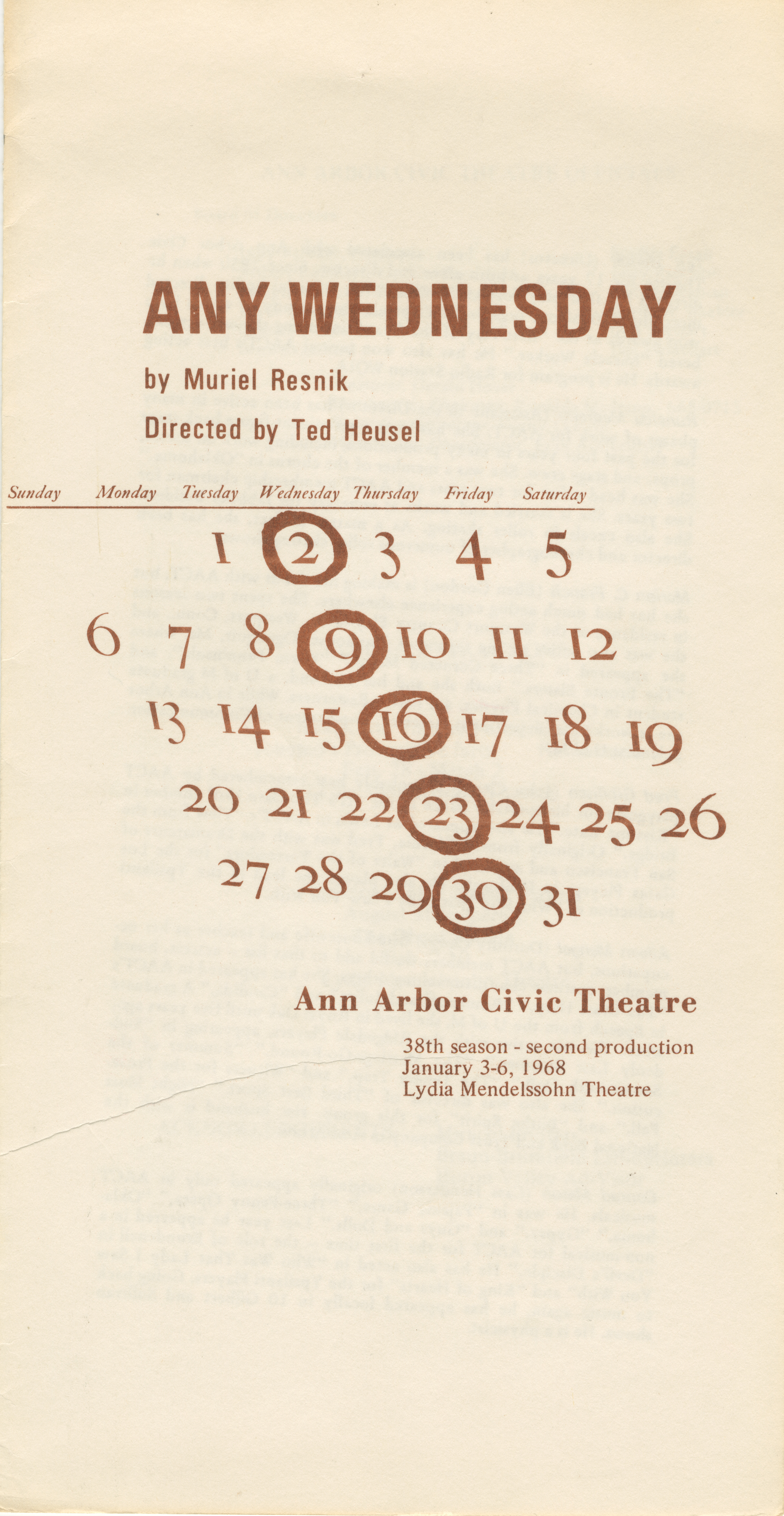 Ann Arbor Civic Theatre Program: Any Wednesday, January 03, 1968 image
