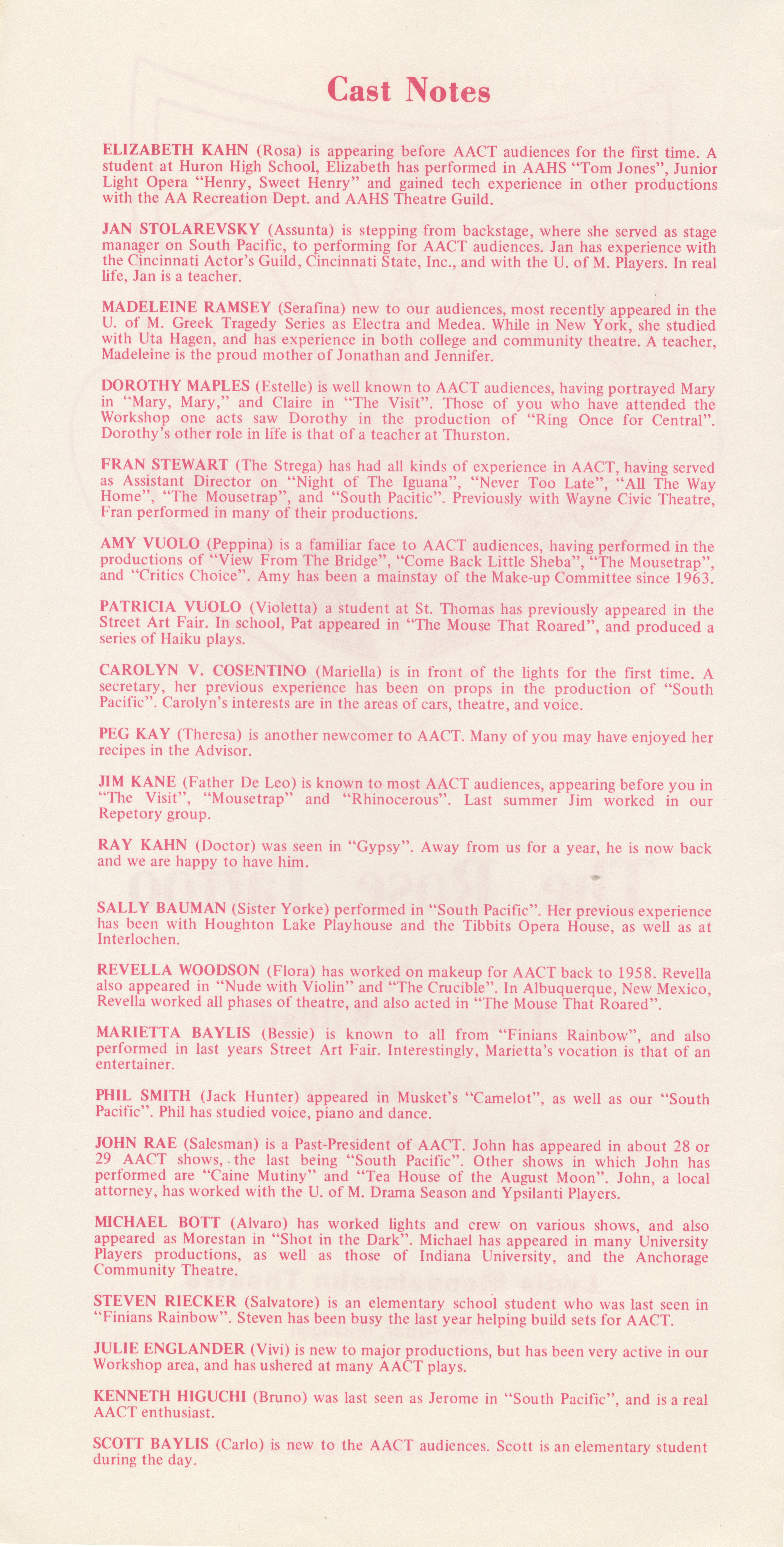 Ann Arbor Civic Theatre Program: Rose Tattoo, April 23, 1969