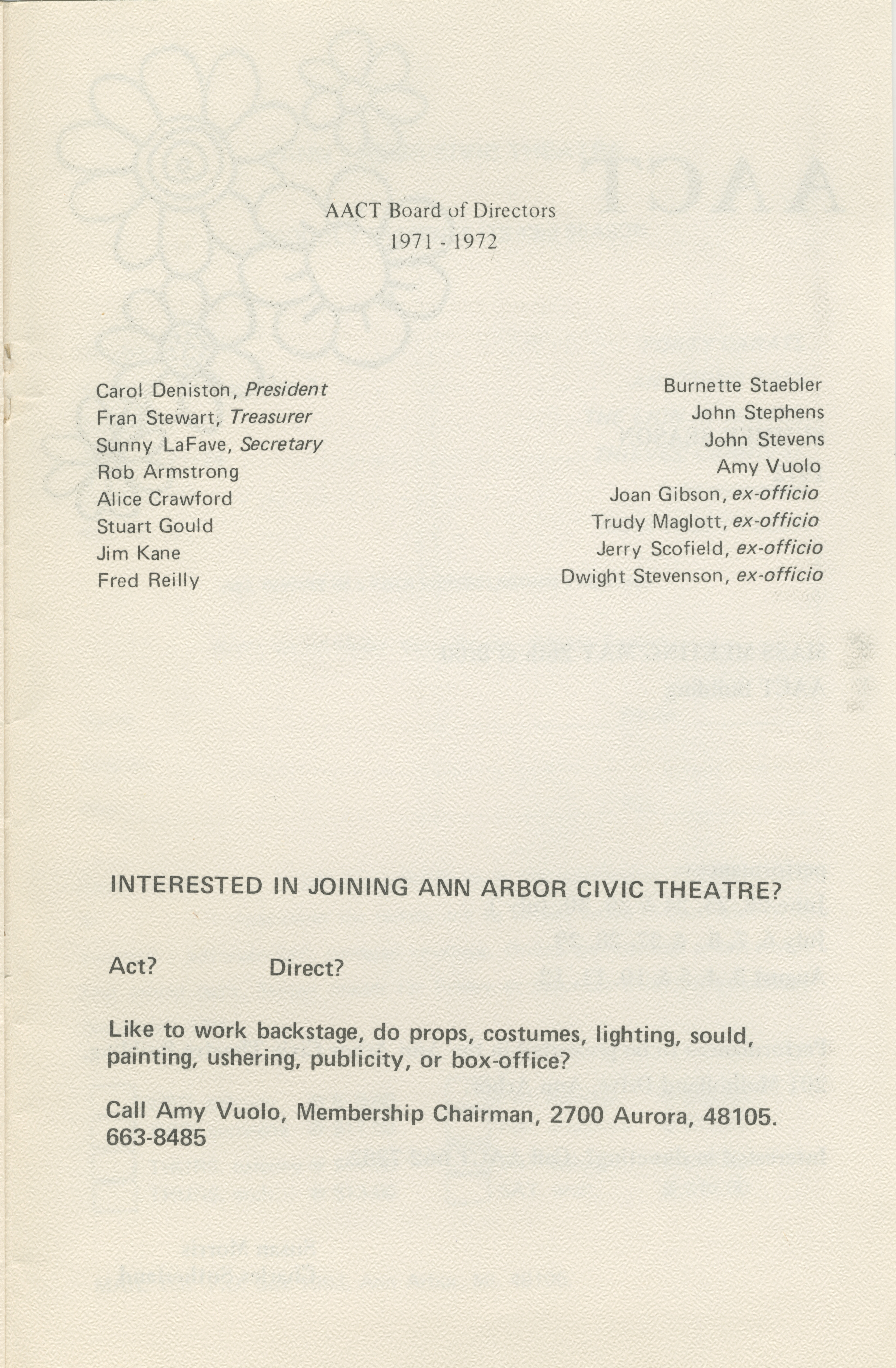Ann Arbor Civic Theatre Program: Once Upon A Mattress, May 17, 1972 image