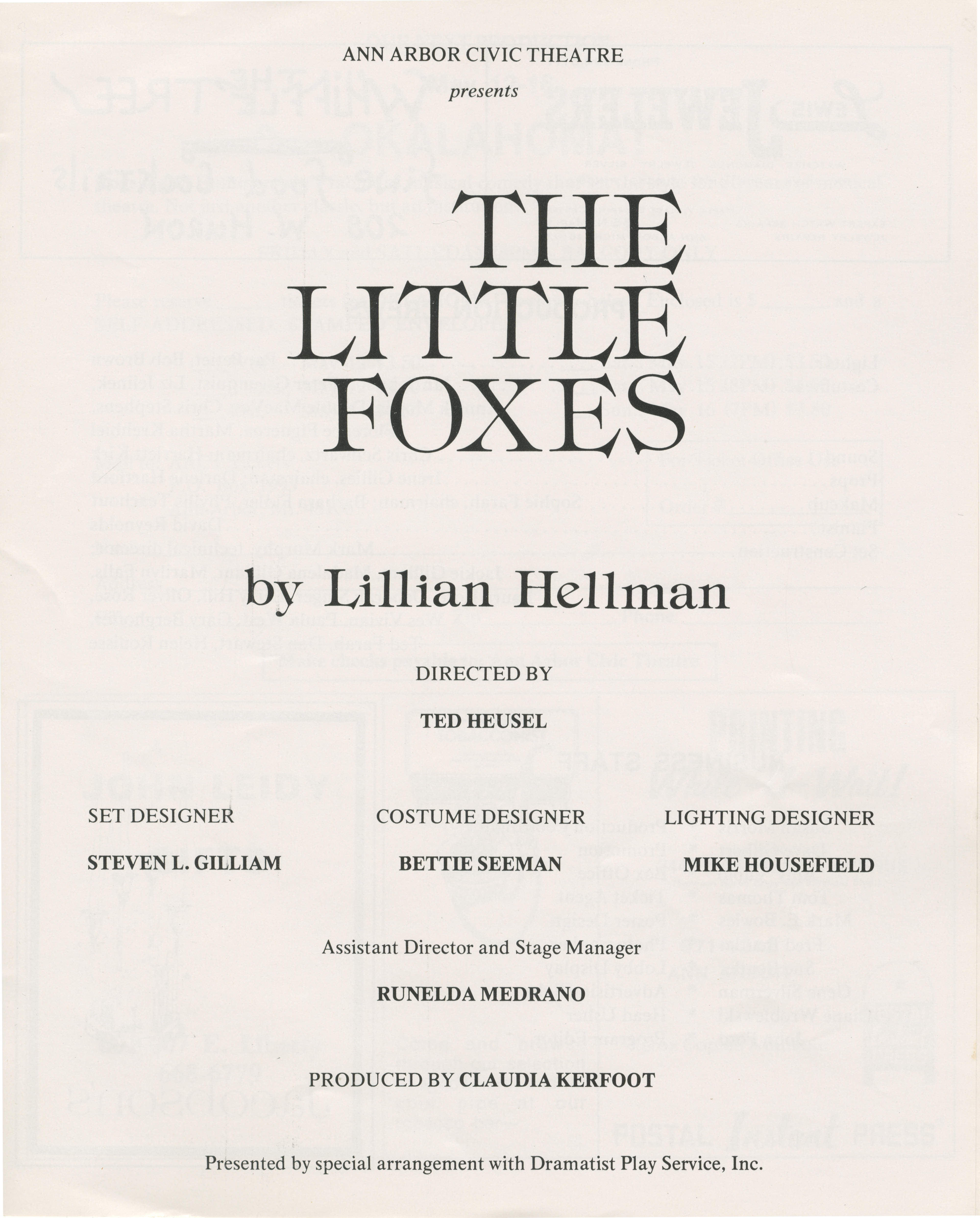 Ann Arbor Civic Theatre Program: The Little Foxes, March 23, 1976 image