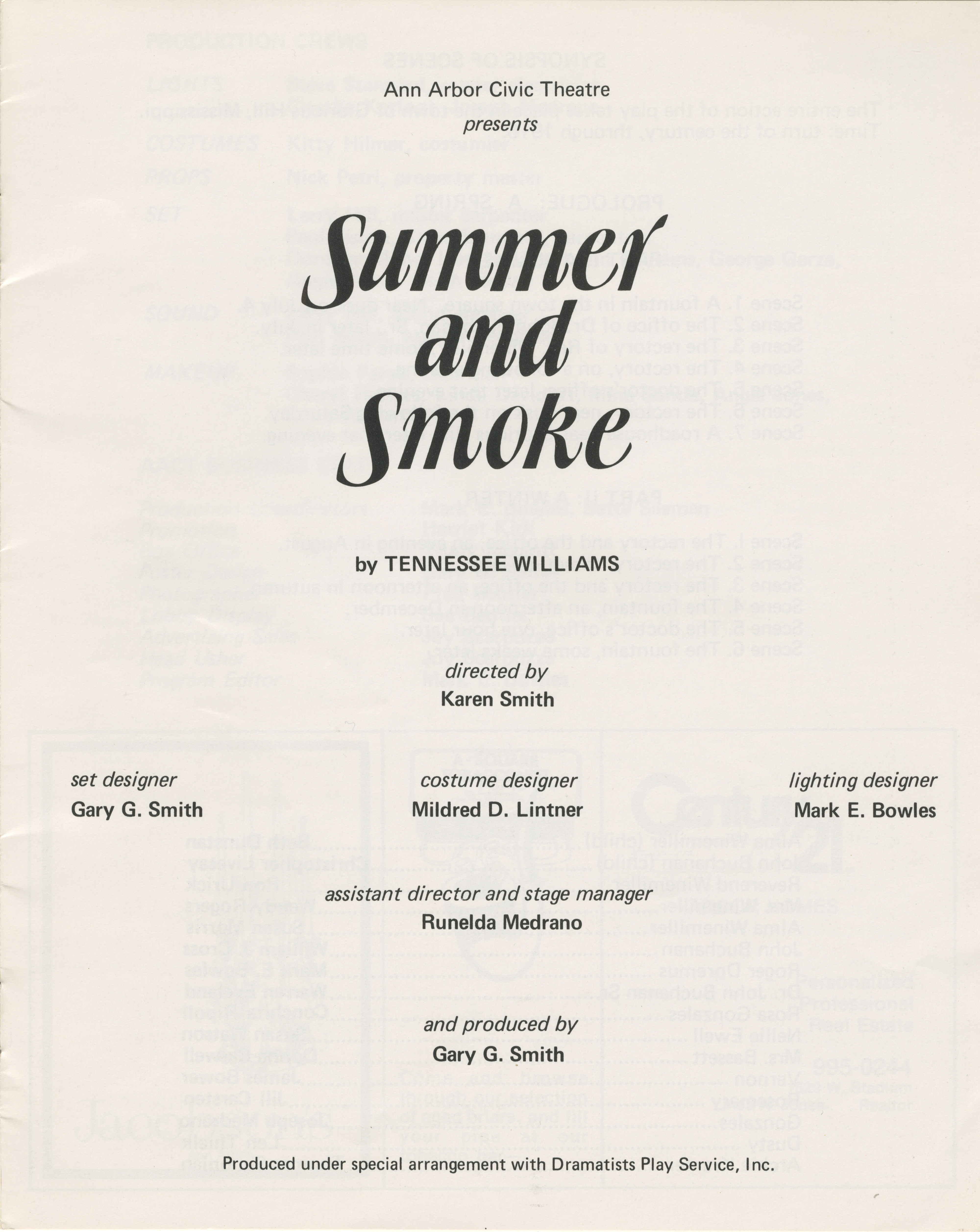 Ann Arbor Civic Theatre Program: Summer And Smoke, October 20, 1976 image