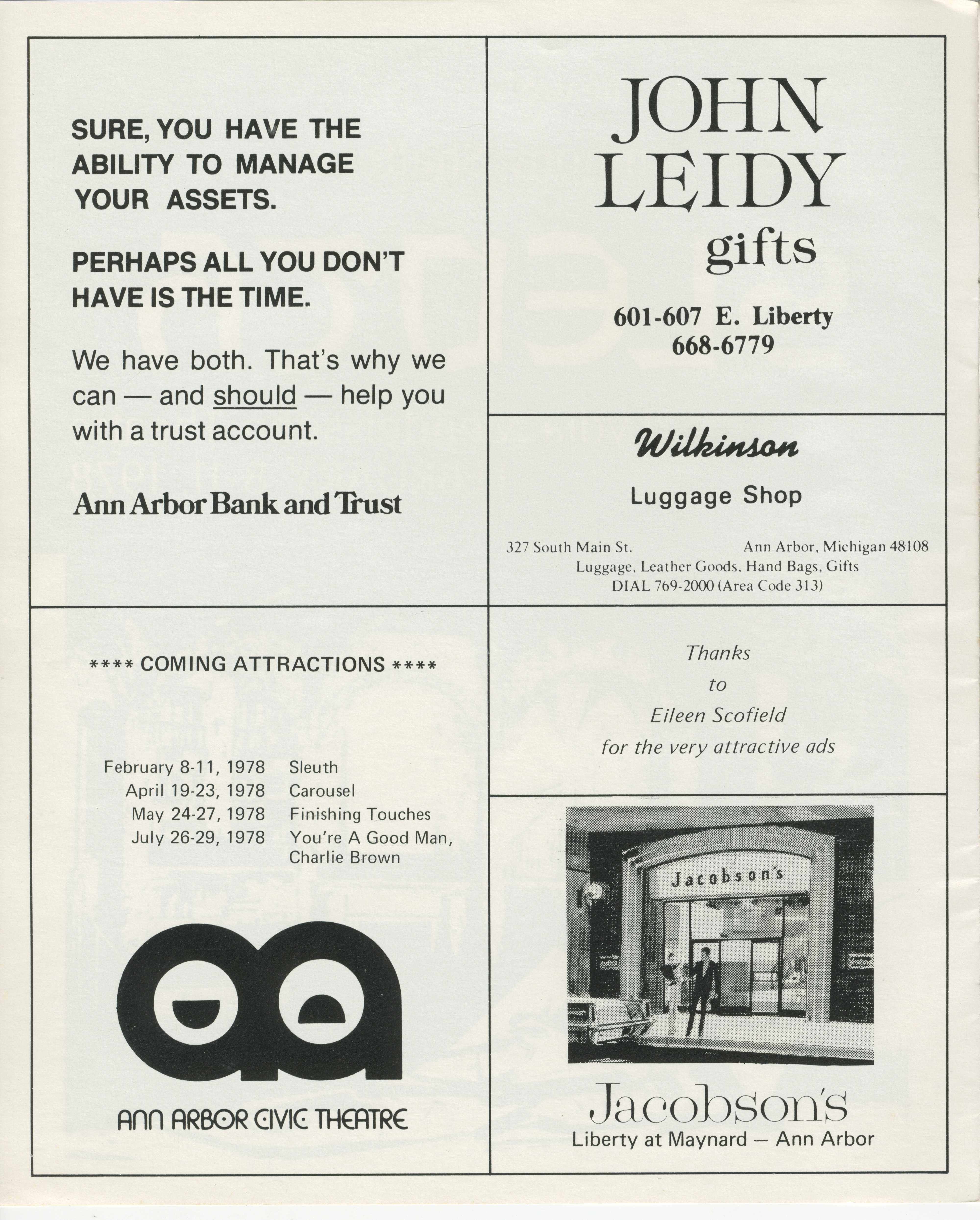 Ann Arbor Civic Theatre Program: Sleuth, February 08, 1978 image
