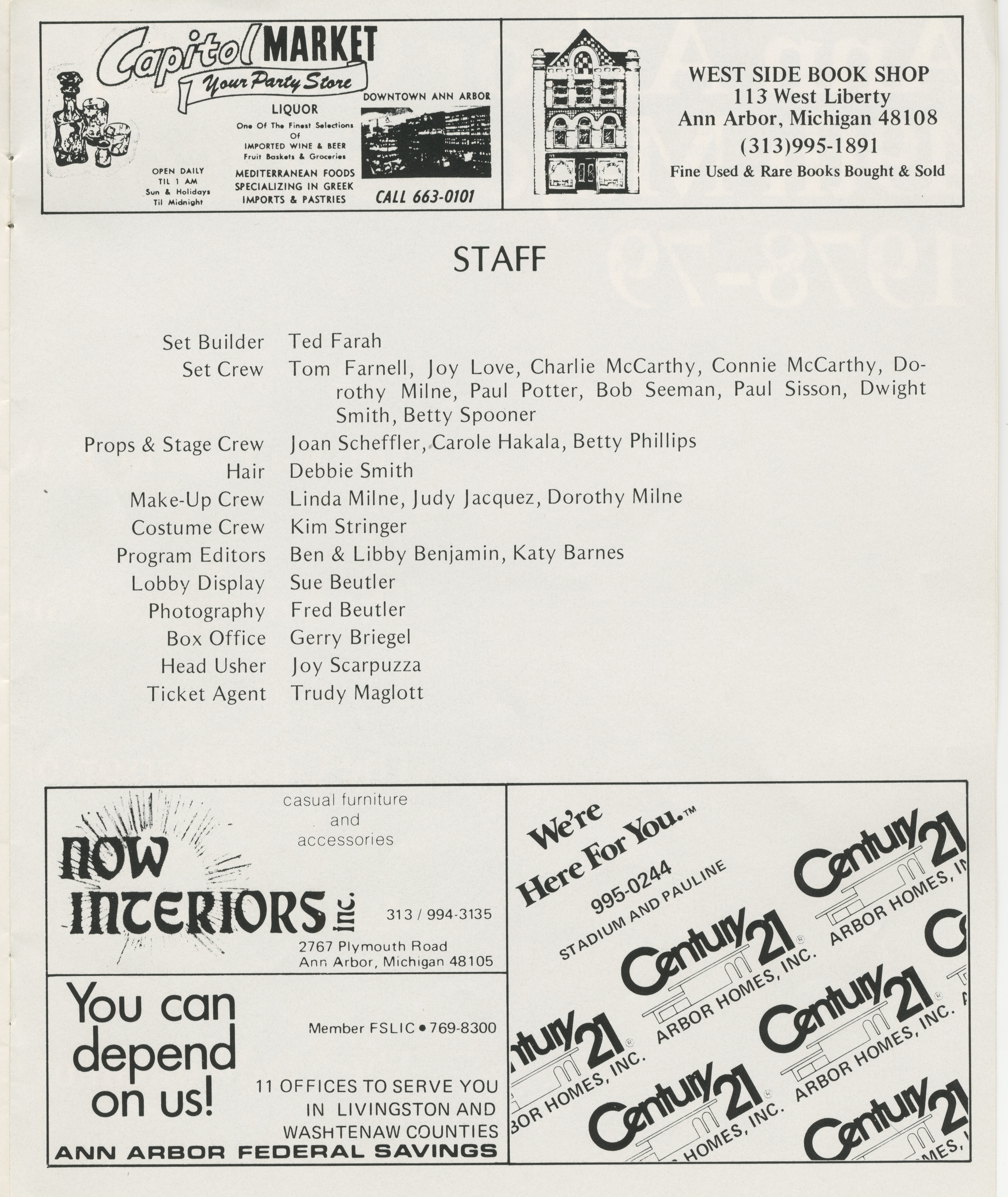 Ann Arbor Civic Theatre Program: Finishing Touches, May 24, 1978 image
