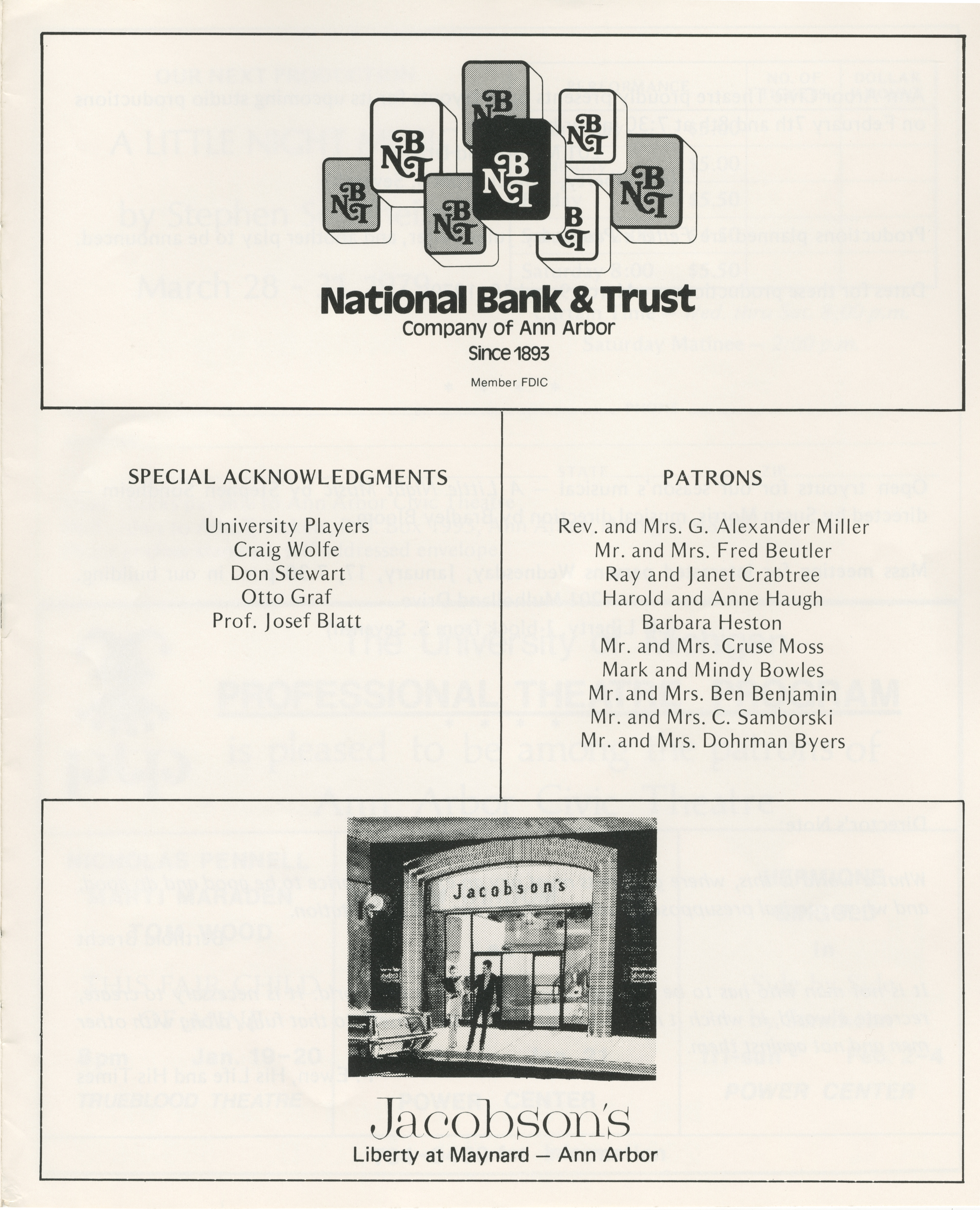 Ann Arbor Civic Theatre Program: The Good Person Of Szechwan, January 10, 1979 image