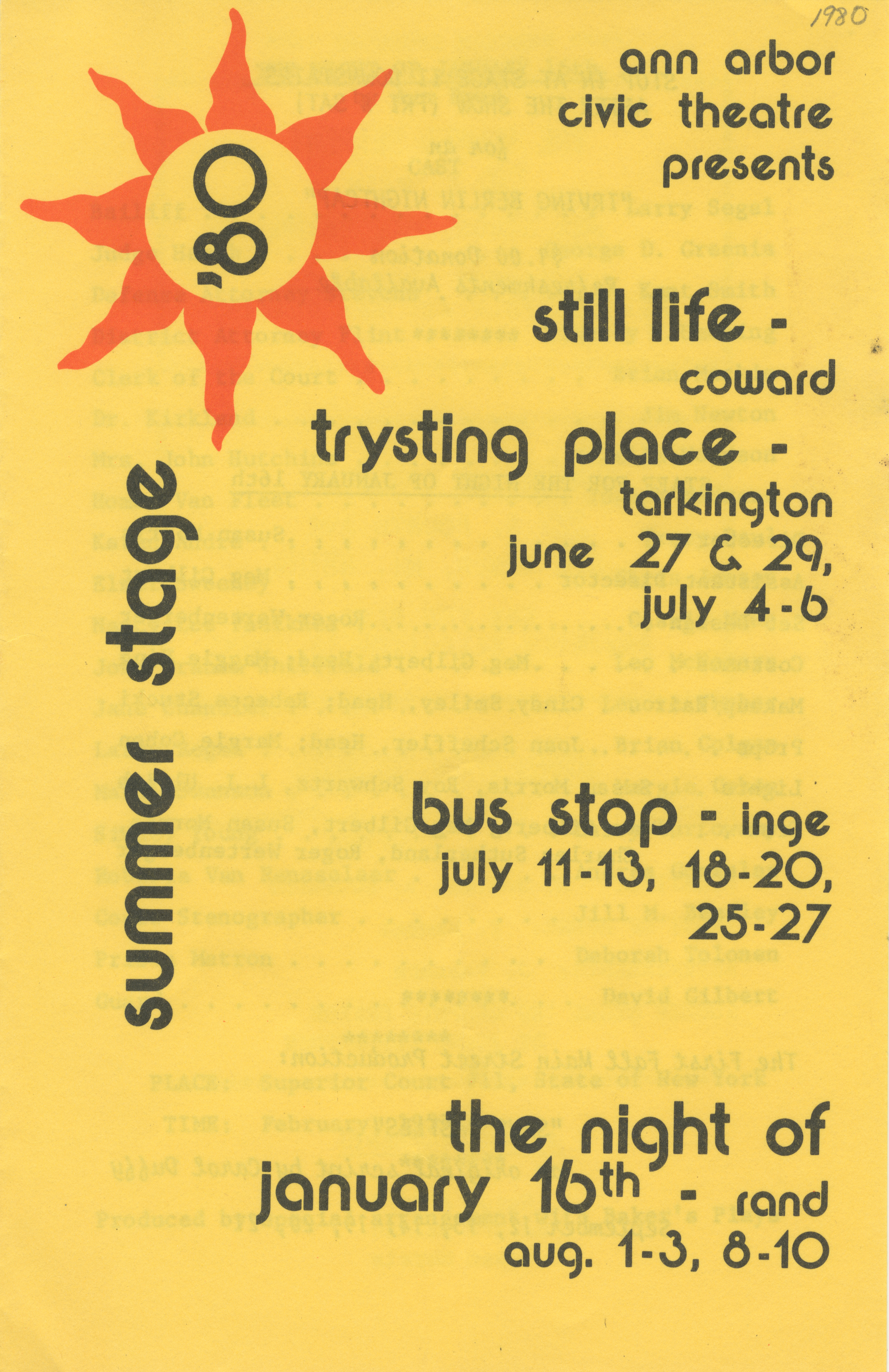 Ann Arbor Civic Theatre Program: Summer Stage, August 01, 1980 image